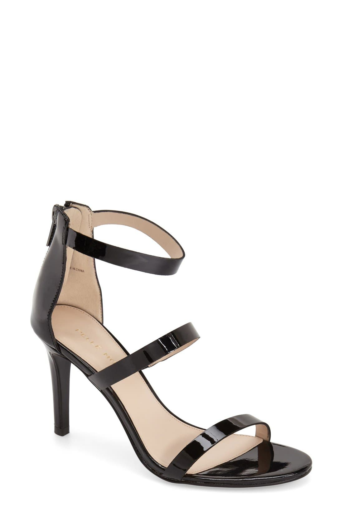 'Dalia' Three Strap Sandal,                             Main thumbnail 1, color,                             001