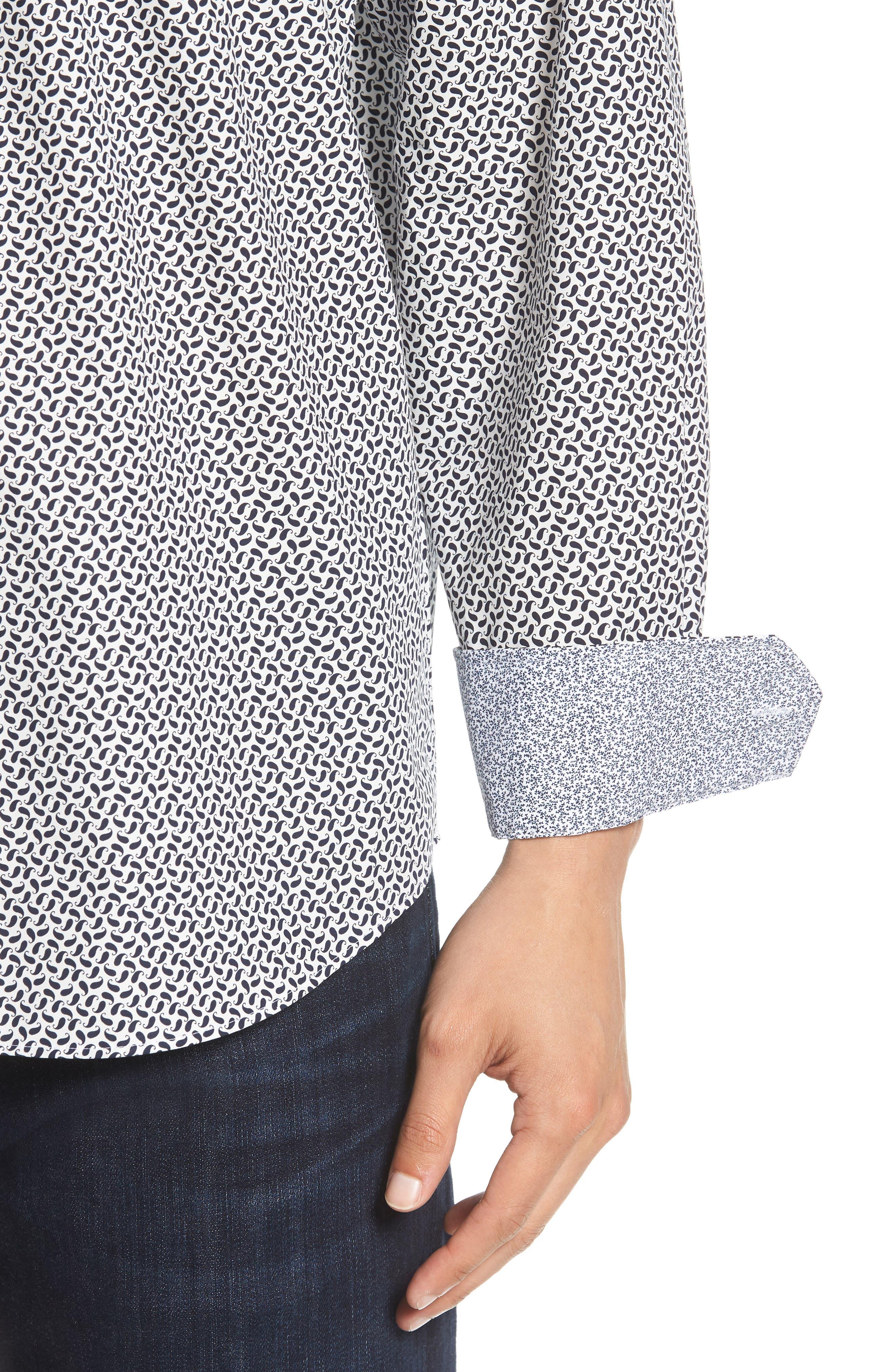 Classic Fit Mini Paisley Print Sport Shirt,                             Alternate thumbnail 4, color,                             MIDNIGHT