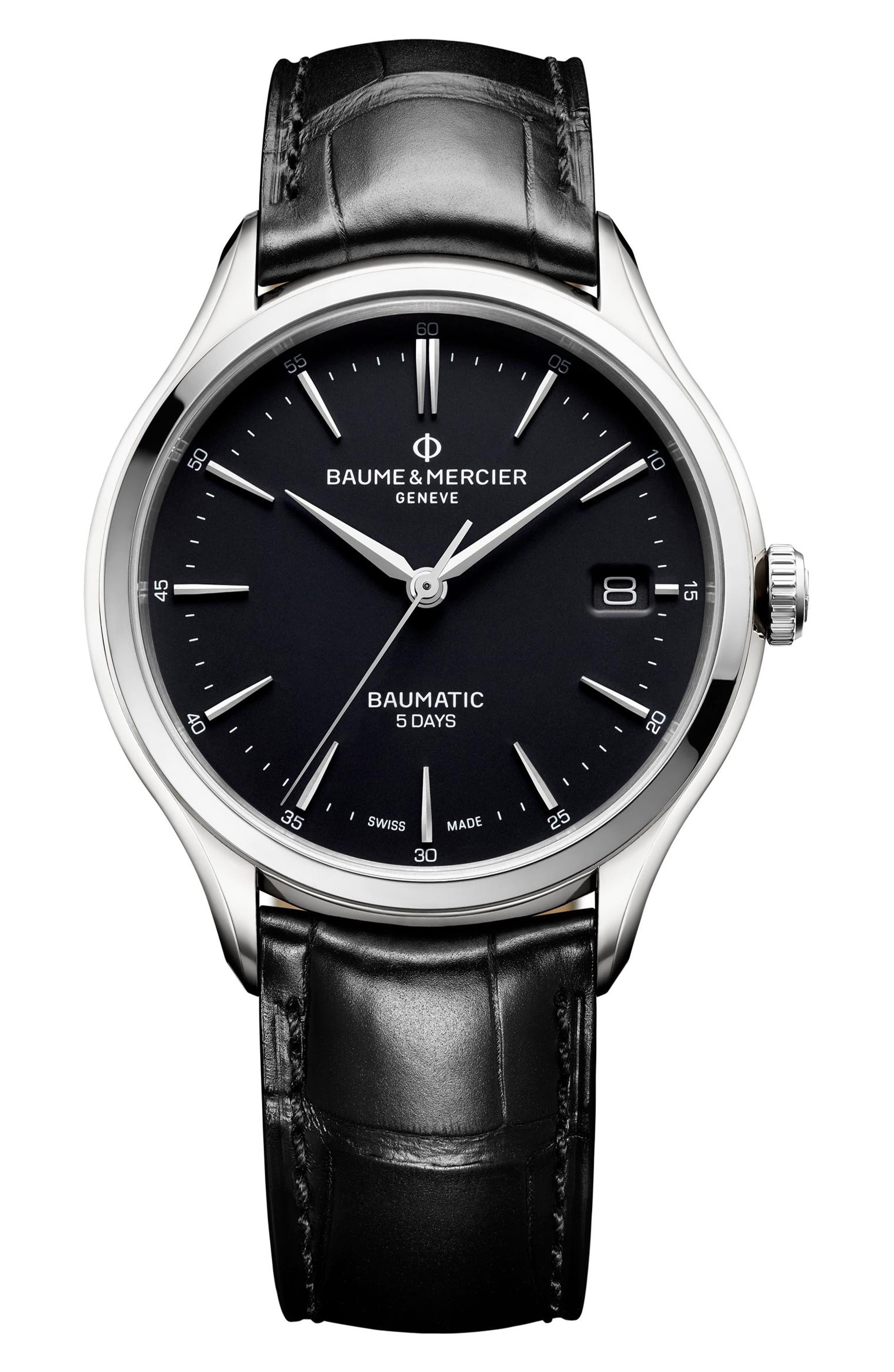 BAUME & MERCIER Baumatic Automatic Leather Strap Watch, 40Mm in Black/ Black