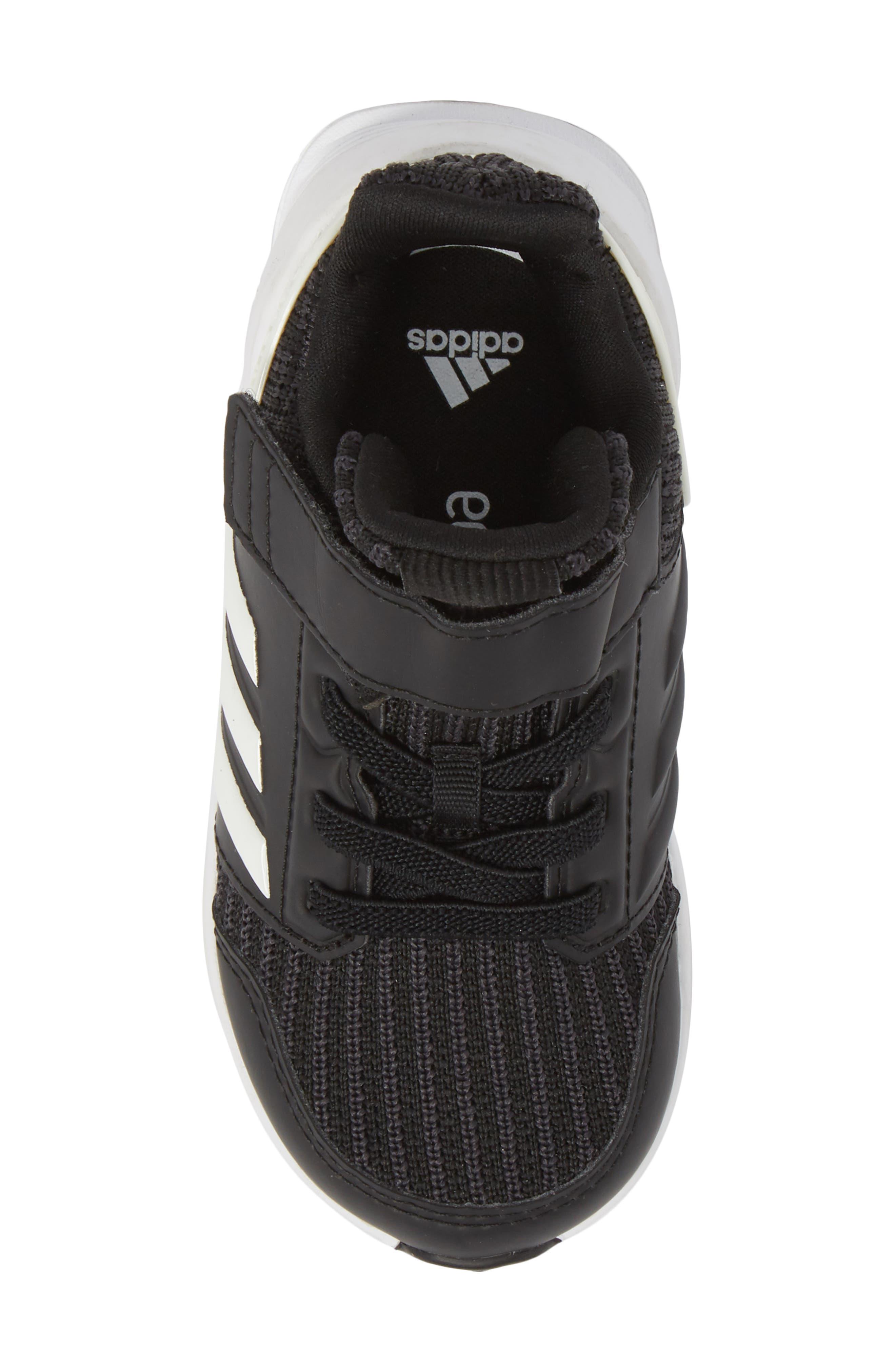 RapidaRun Knit Sneaker,                             Alternate thumbnail 5, color,                             BLACK/ WHITE
