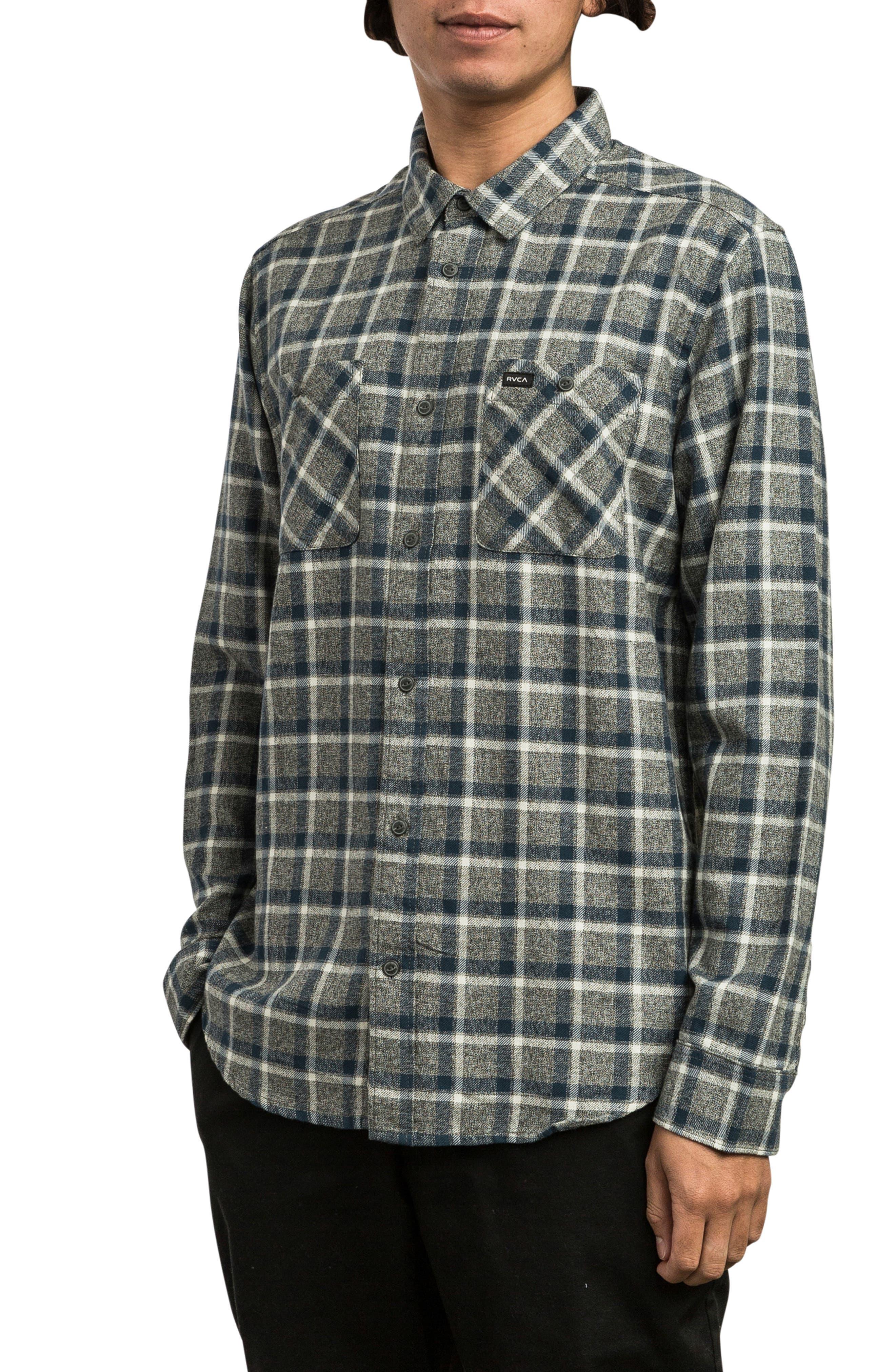 Hero Flannel Shirt,                             Alternate thumbnail 3, color,                             PIRATE BLACK