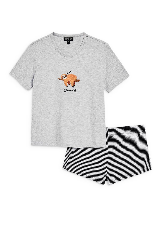 Let's Hang Short Pajamas,                             Alternate thumbnail 4, color,                             GREY