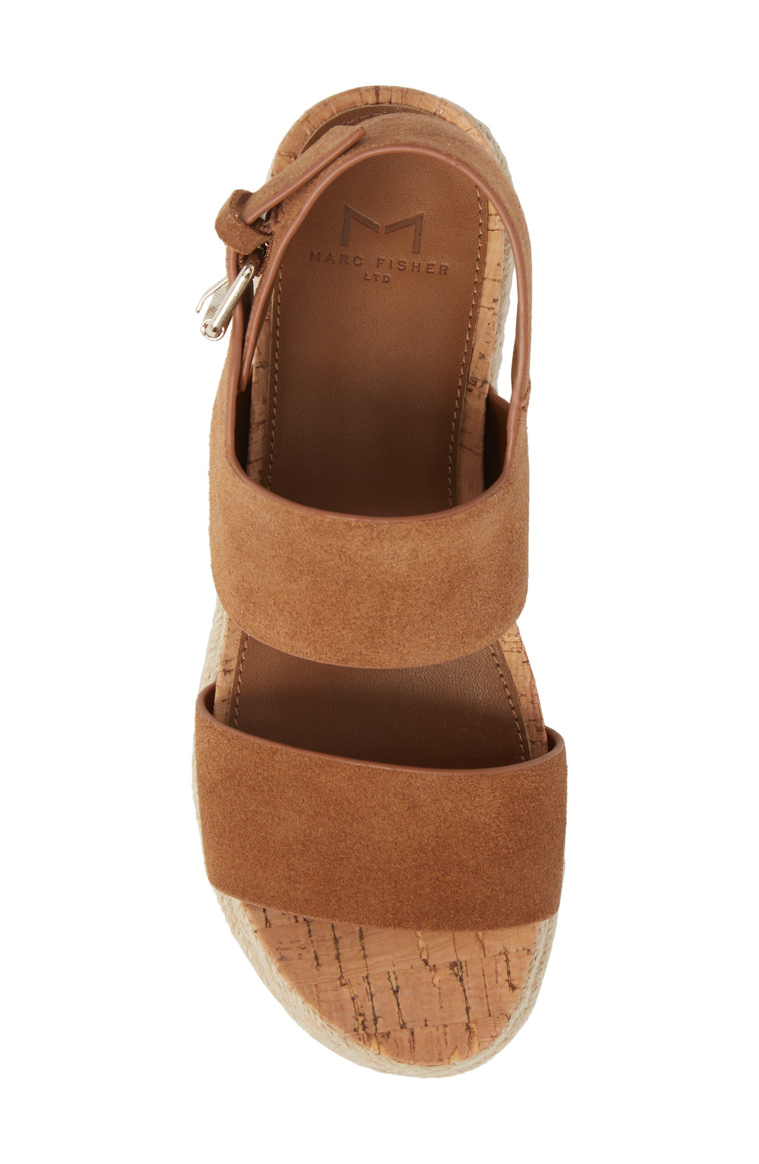 Oria Espadrille Platform Sandal,                             Alternate thumbnail 5, color,                             COGNAC SUEDE