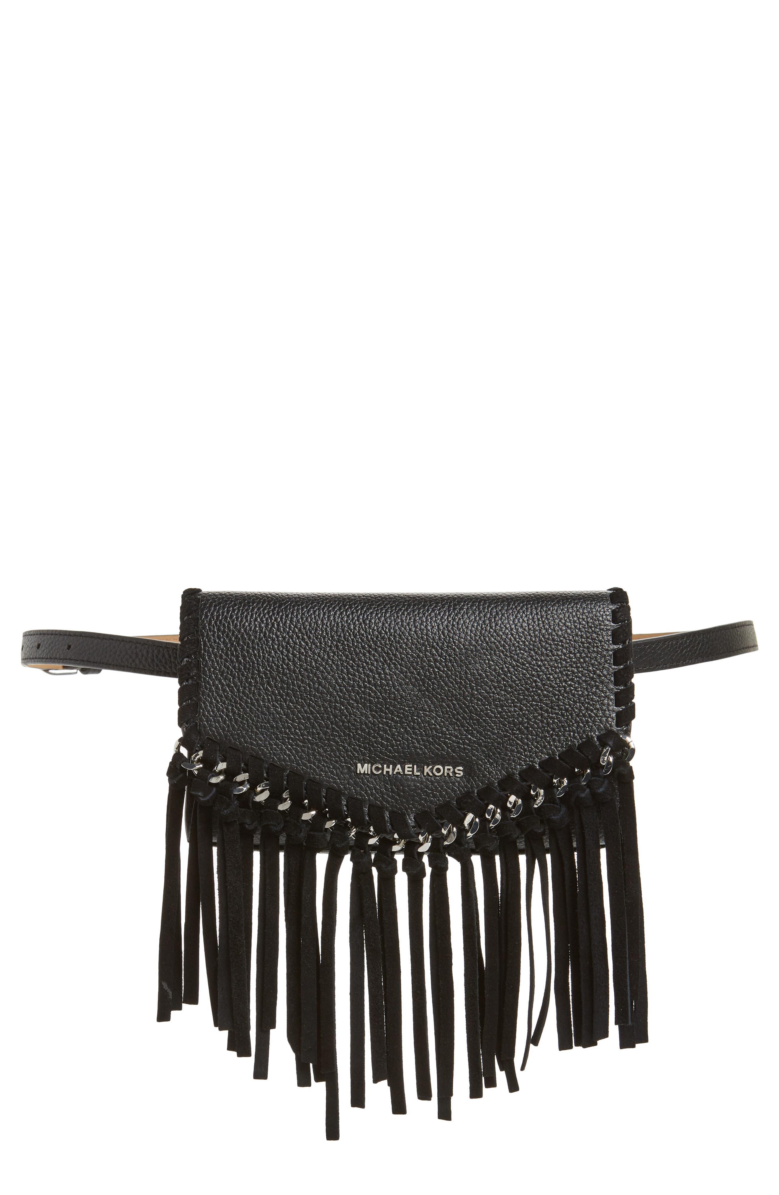 Fringe Leather Belt Bag,                         Main,                         color, BLACK / POL SILVER