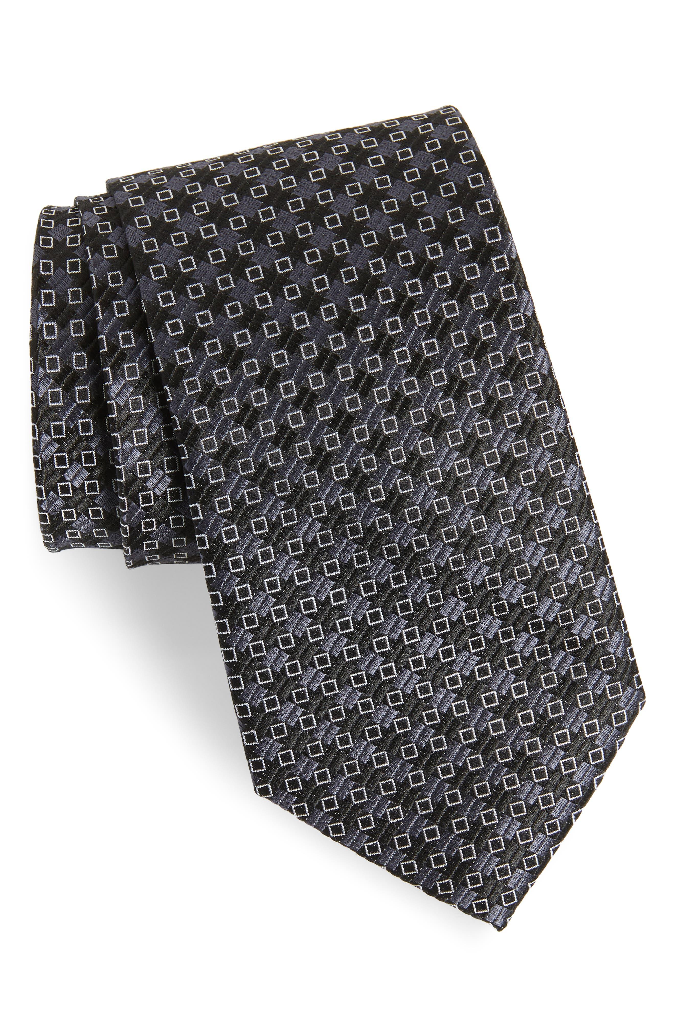 Middletown Geometric Silk Tie,                         Main,                         color, 001