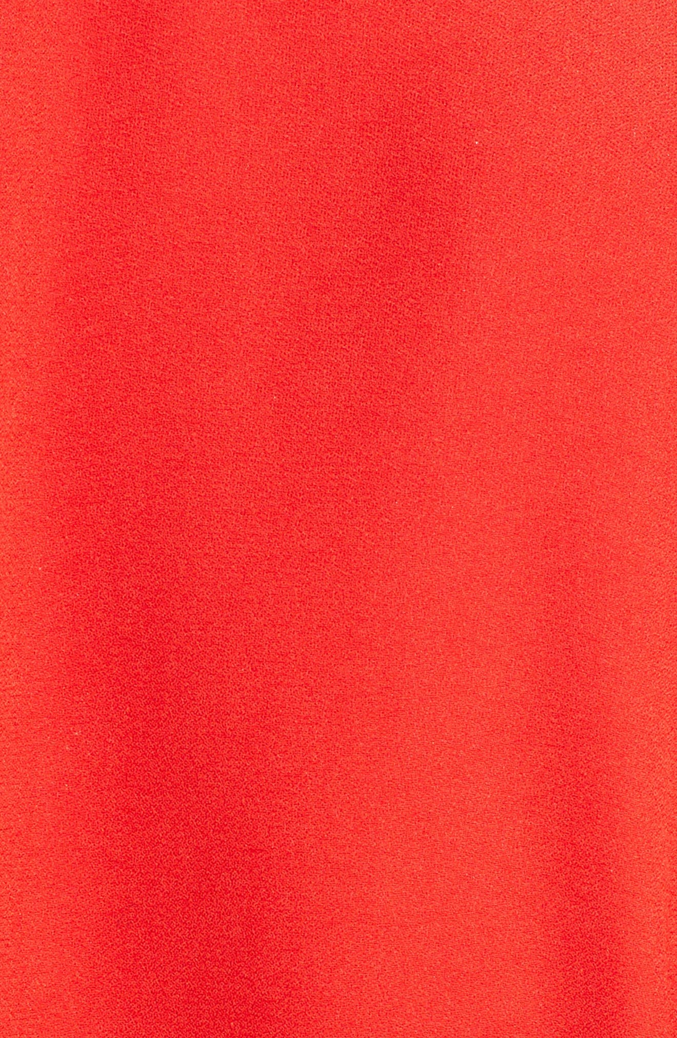 Cape Sleeve Satin Crepe Gown,                             Alternate thumbnail 5, color,                             LUST RED