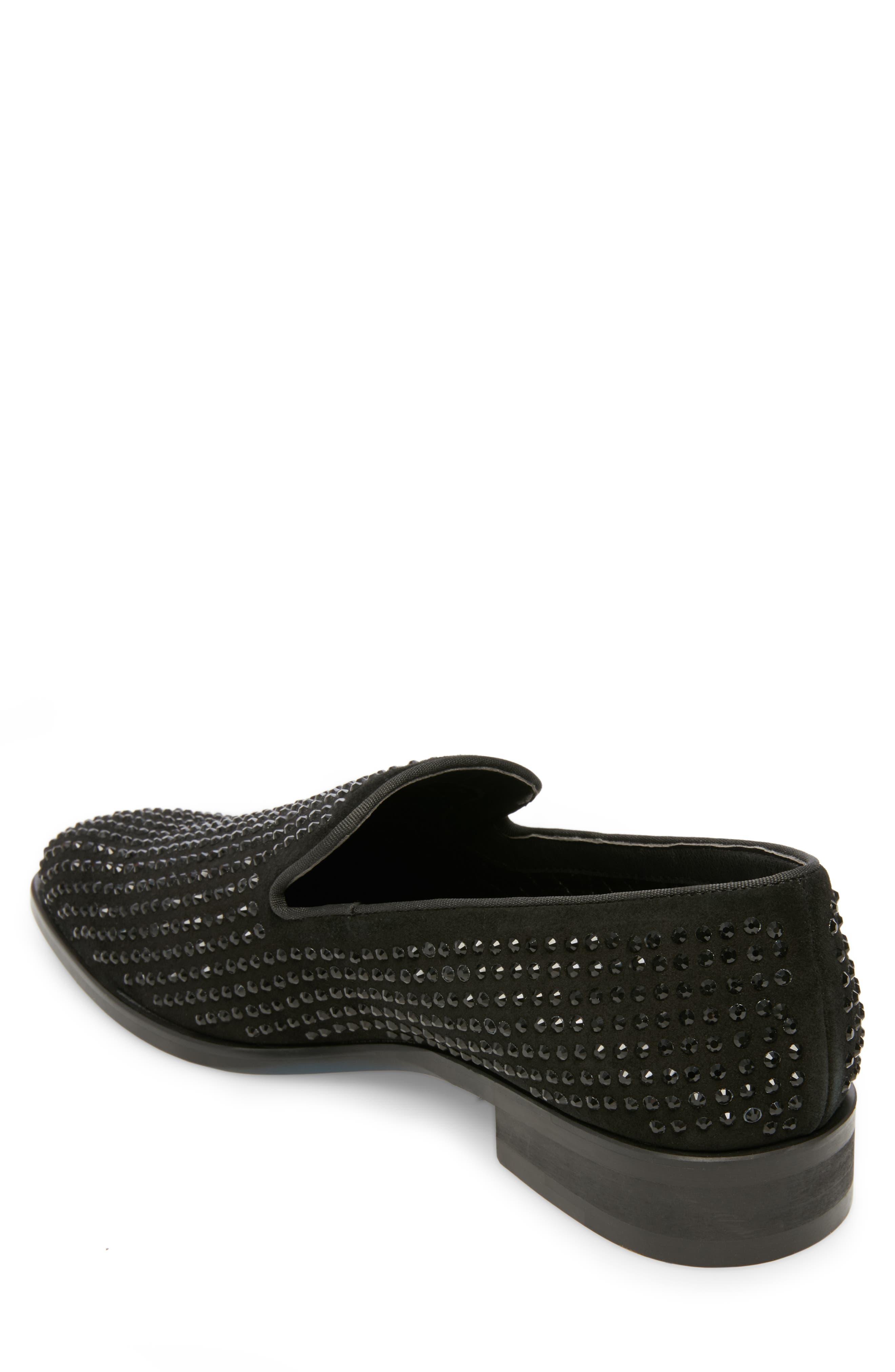 Falsetto Studded Venetian Loafer,                             Alternate thumbnail 2, color,                             BLACK