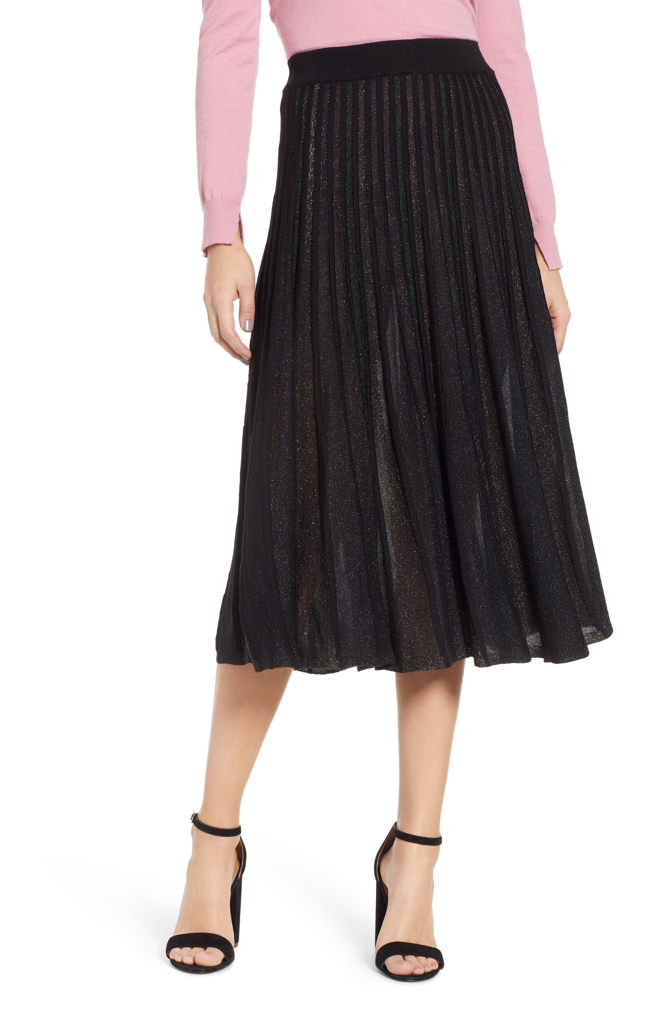 Prima Sparkle Pleated Midi Skirt, Black