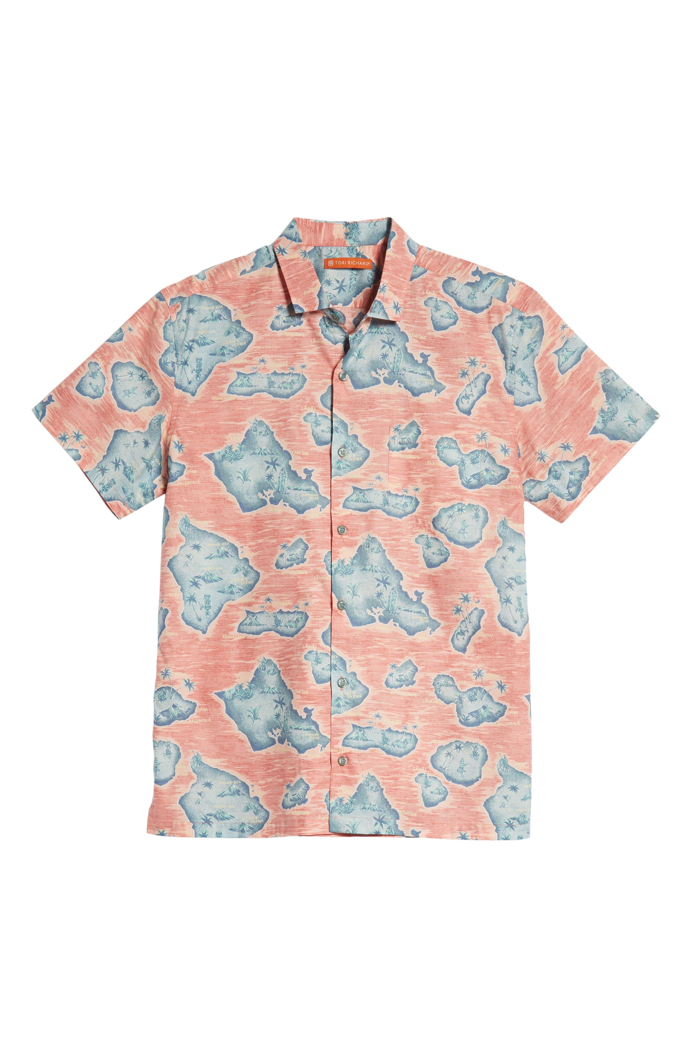 Sandwich Isle Regular Fit Sport Shirt,                             Alternate thumbnail 5, color,                             HAWAIIAN SALT