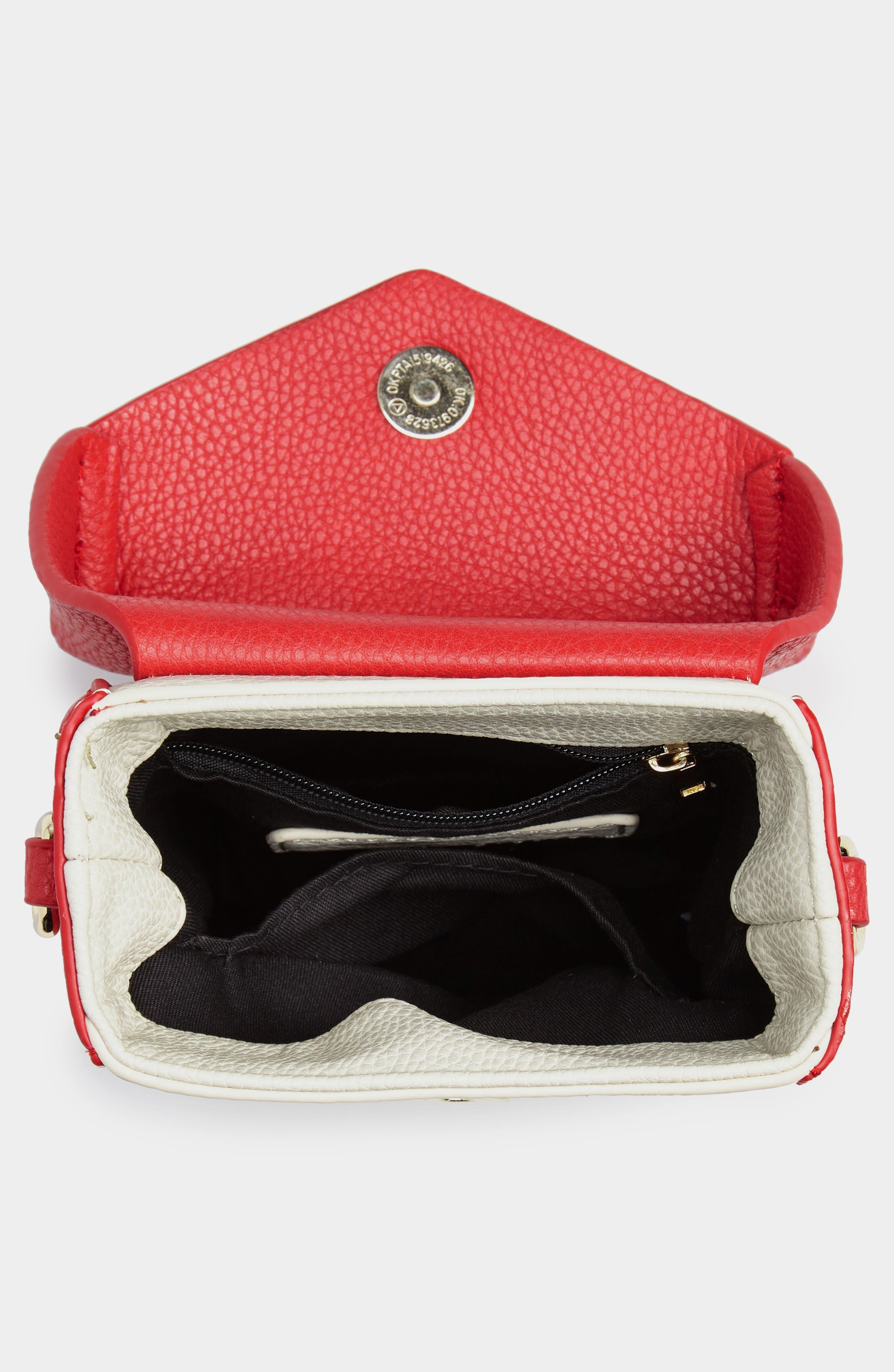 JULES KAE,                             Tabitha Faux Leather Crossbody Bag,                             Alternate thumbnail 4, color,                             100