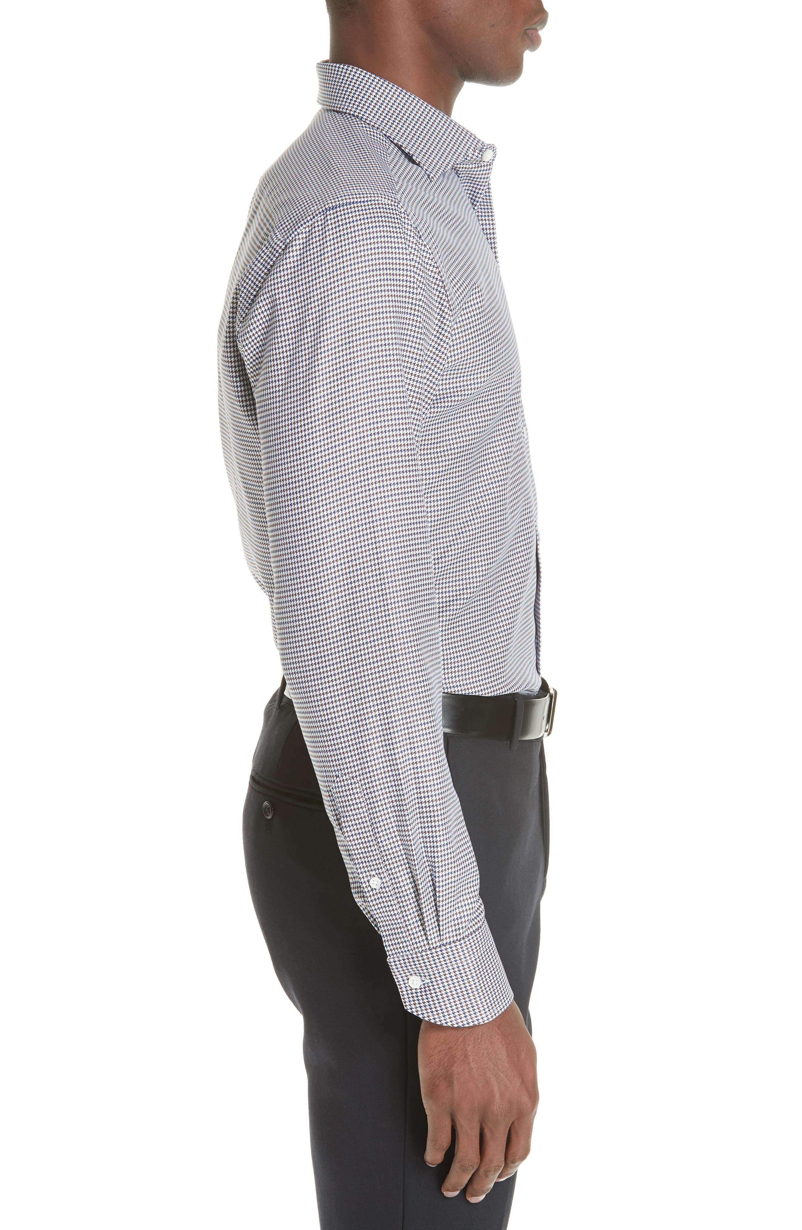 Regular Fit Houndstooth Dress Shirt,                             Alternate thumbnail 4, color,                             NAVY/ BROWN