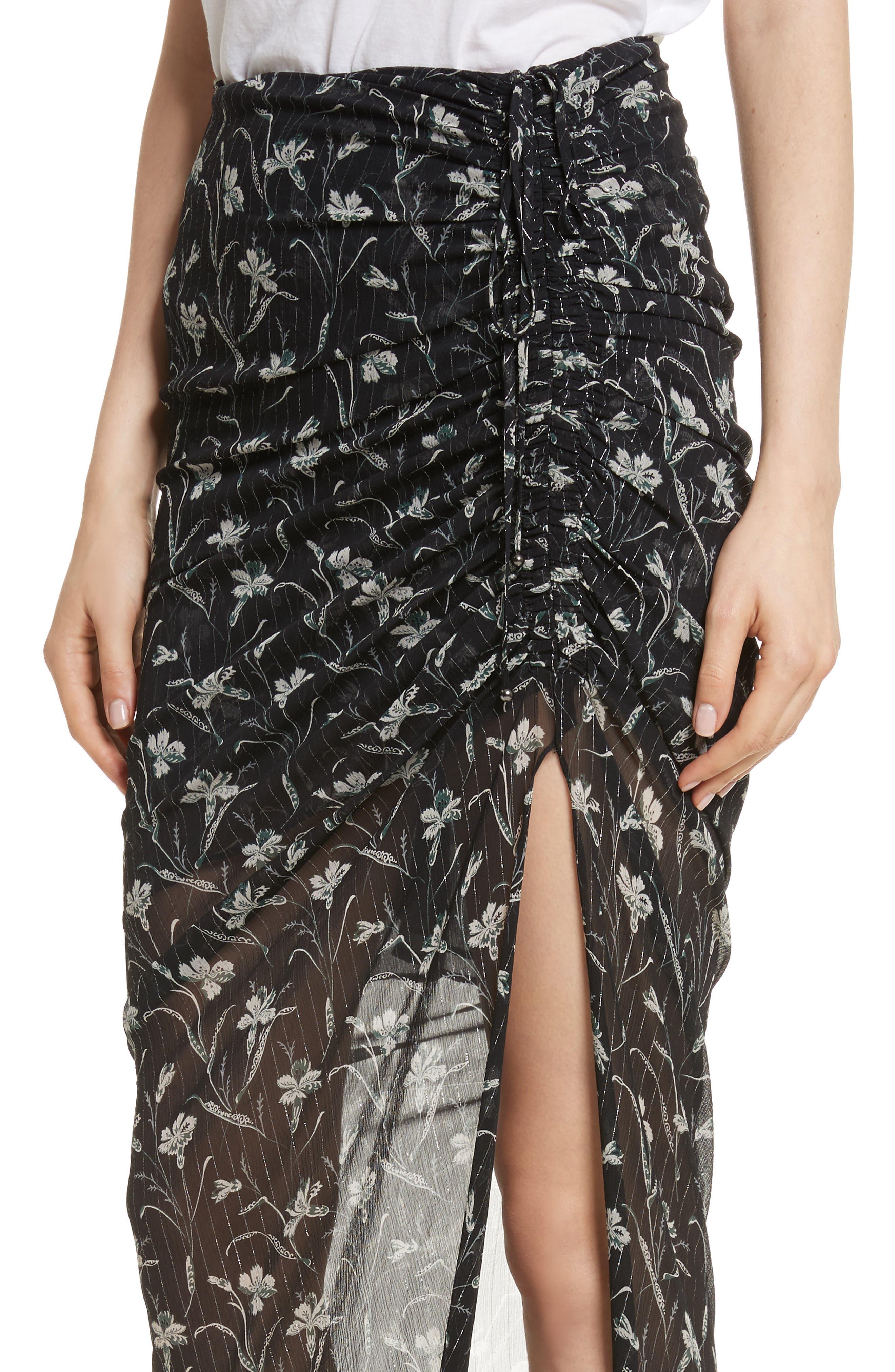 Mae Metallic Stripe Silk Midi Skirt,                             Alternate thumbnail 4, color,