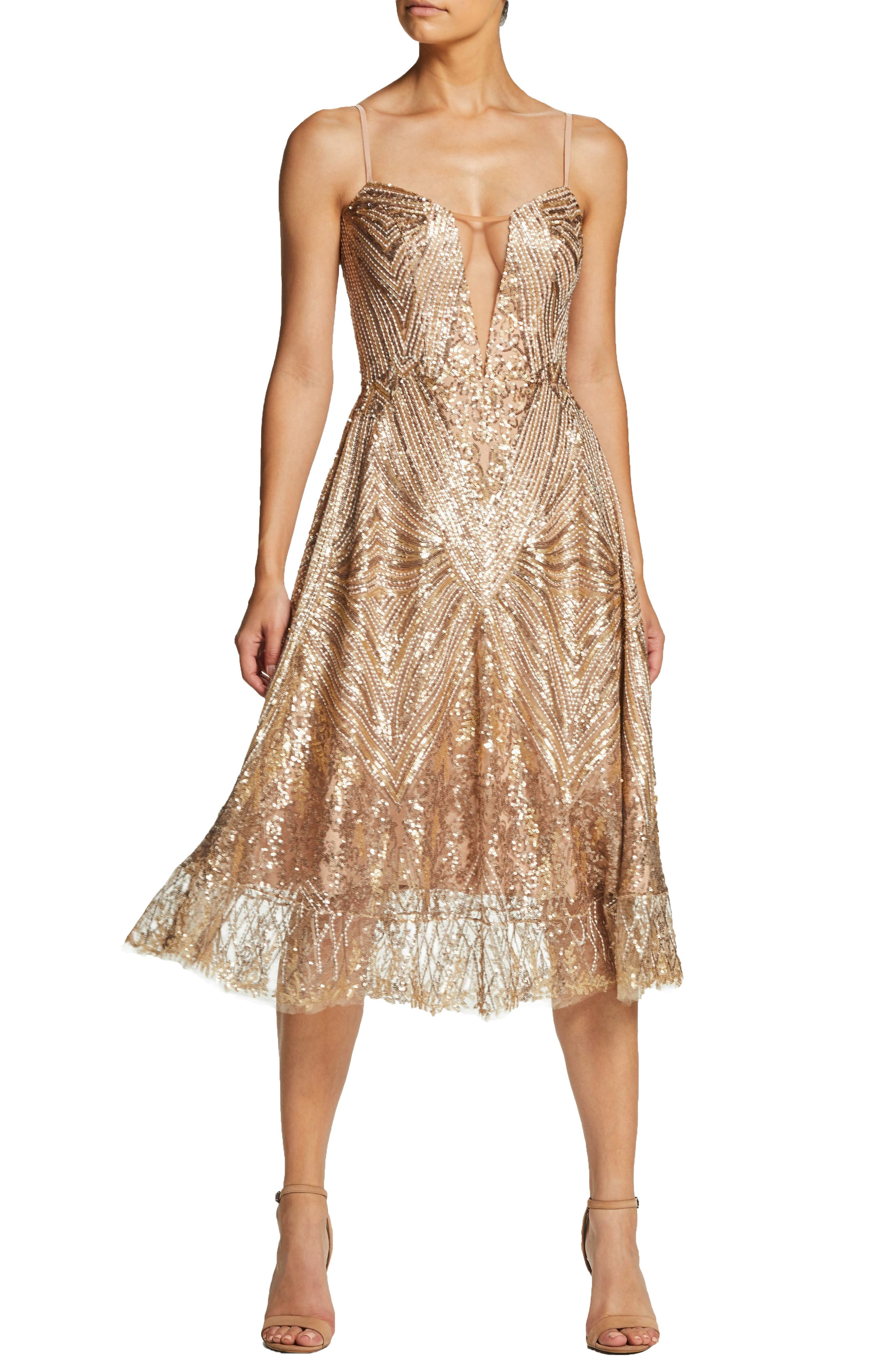 Sarah Sequin Strapless Fit & Flare Dress in Gold/ Brass