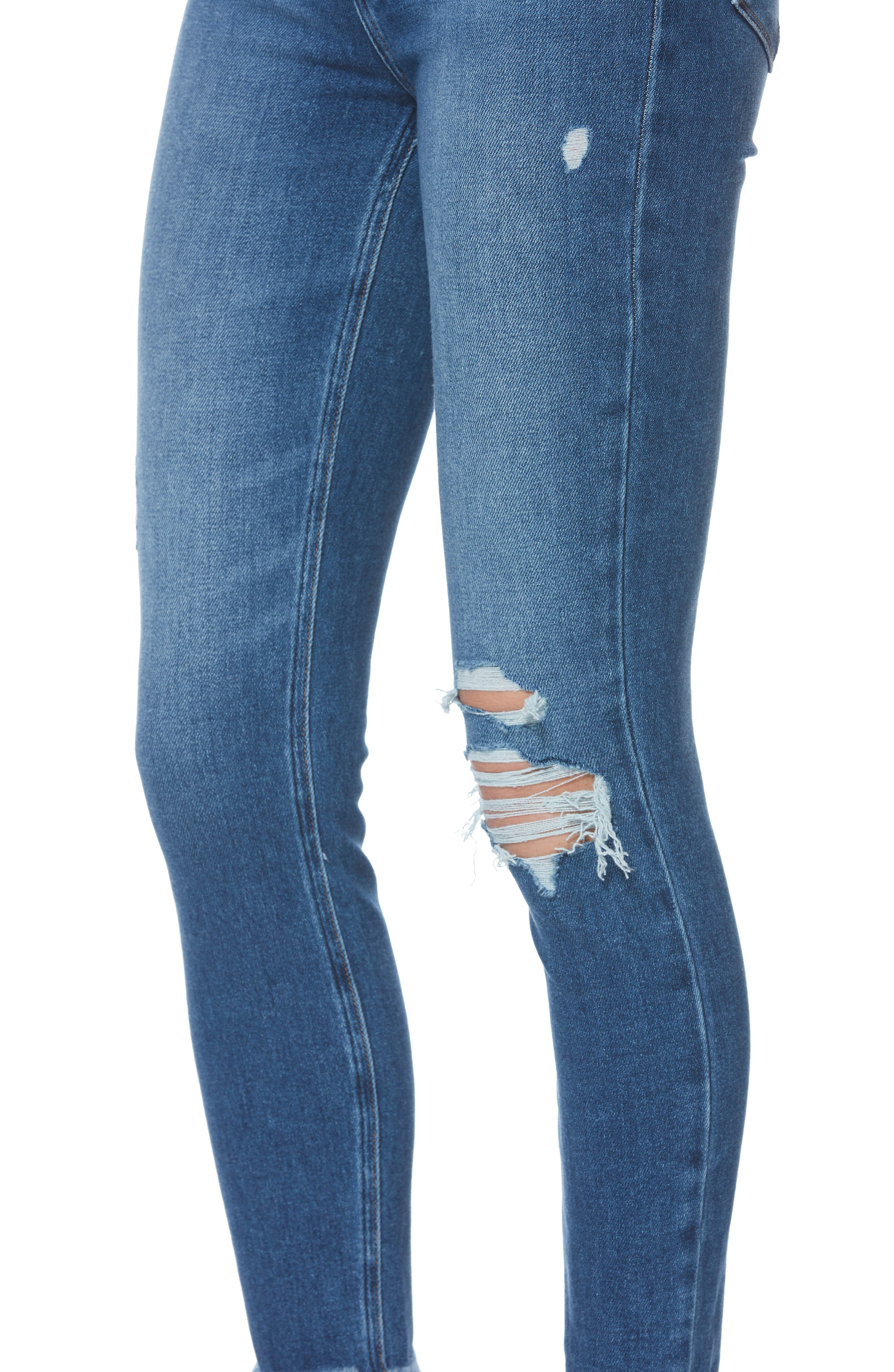 PAIGE,                             Margot High Waist Crop Skinny Jeans,                             Alternate thumbnail 5, color,                             ALESSIO DESTRUCTED