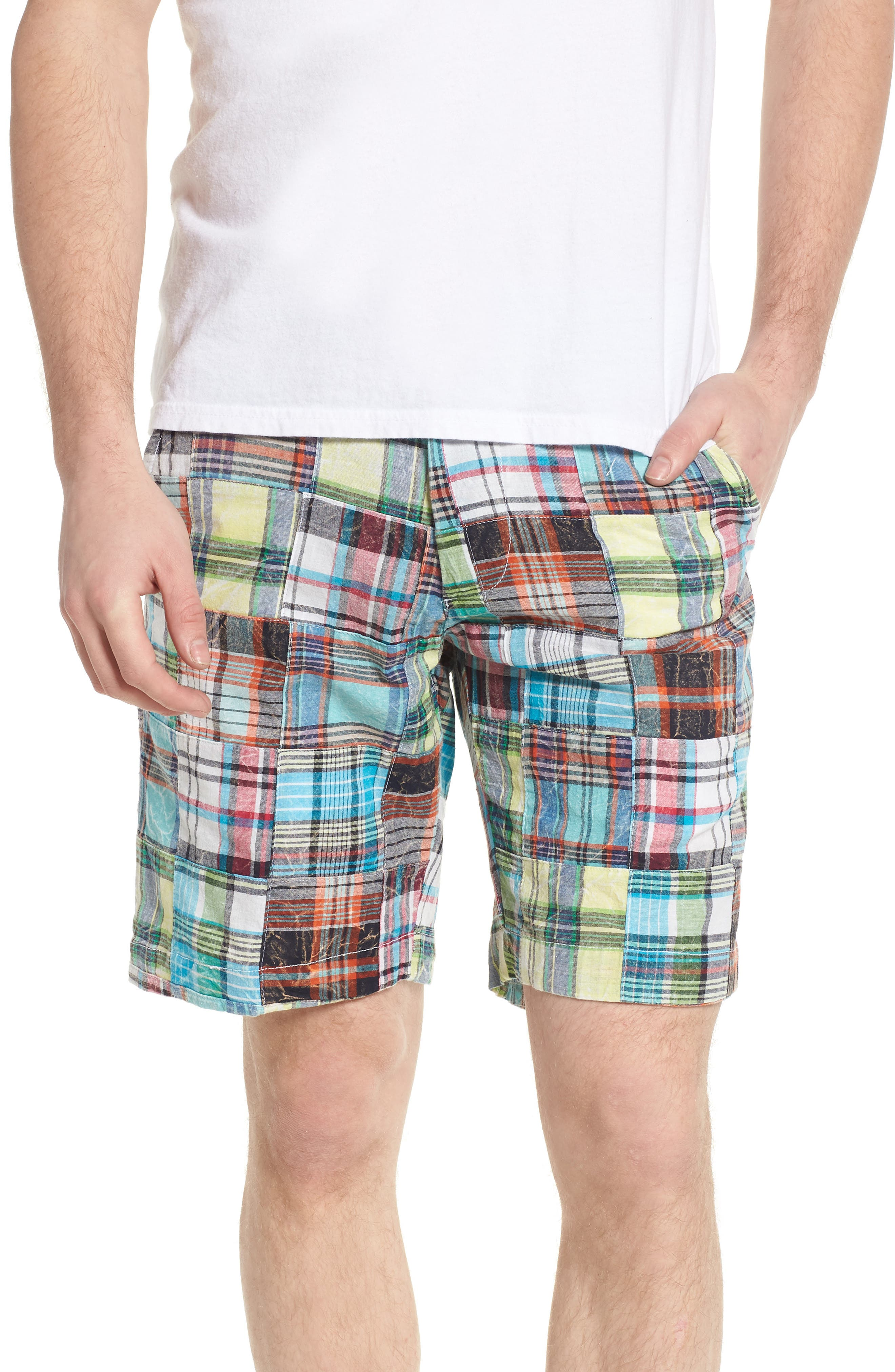 Acid Wash Plaid Patchwork Shorts,                         Main,                         color, 300