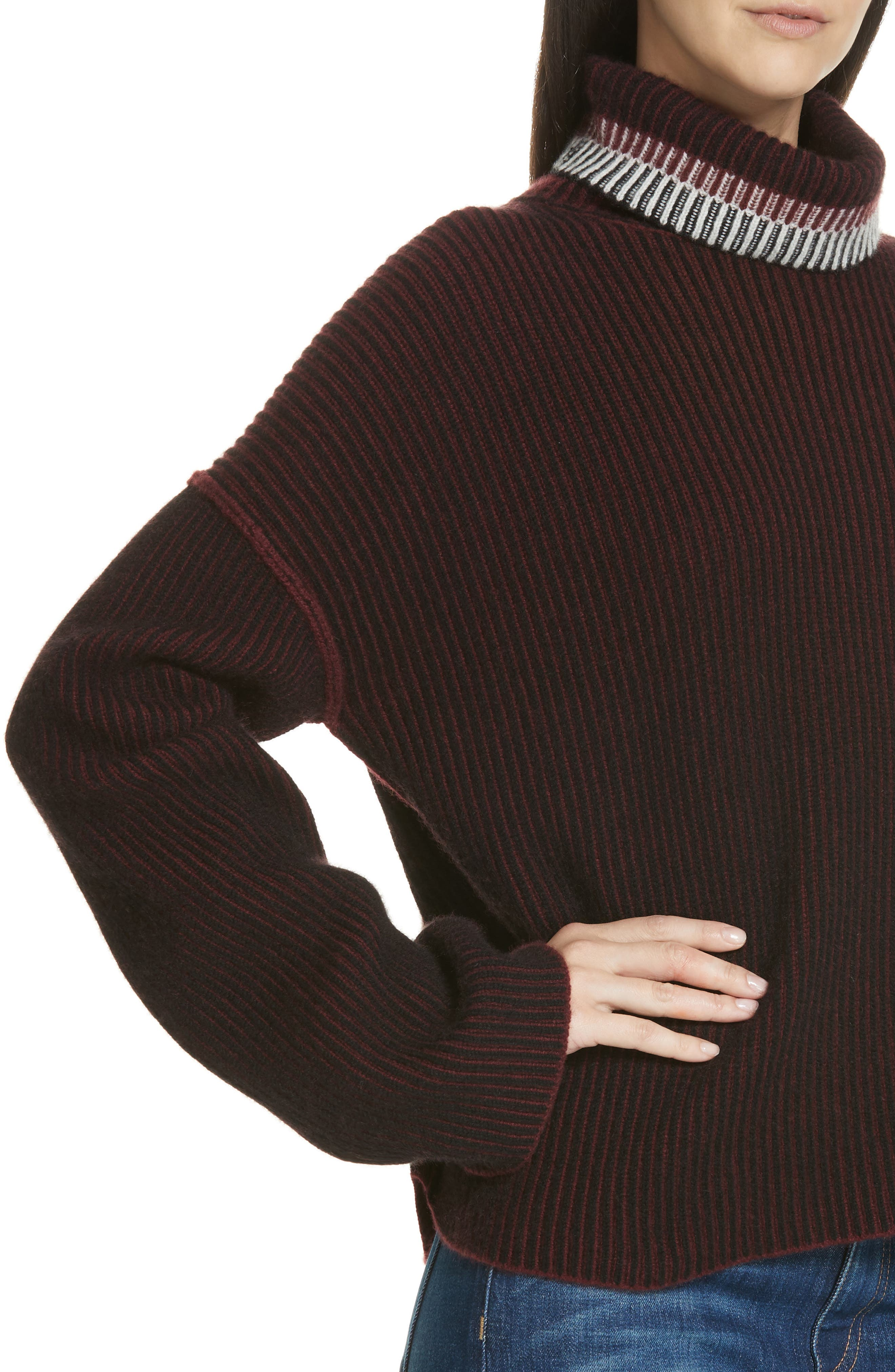 Oversize Cashmere Turtleneck Sweater,                             Alternate thumbnail 4, color,                             DARK CURRANT MIX