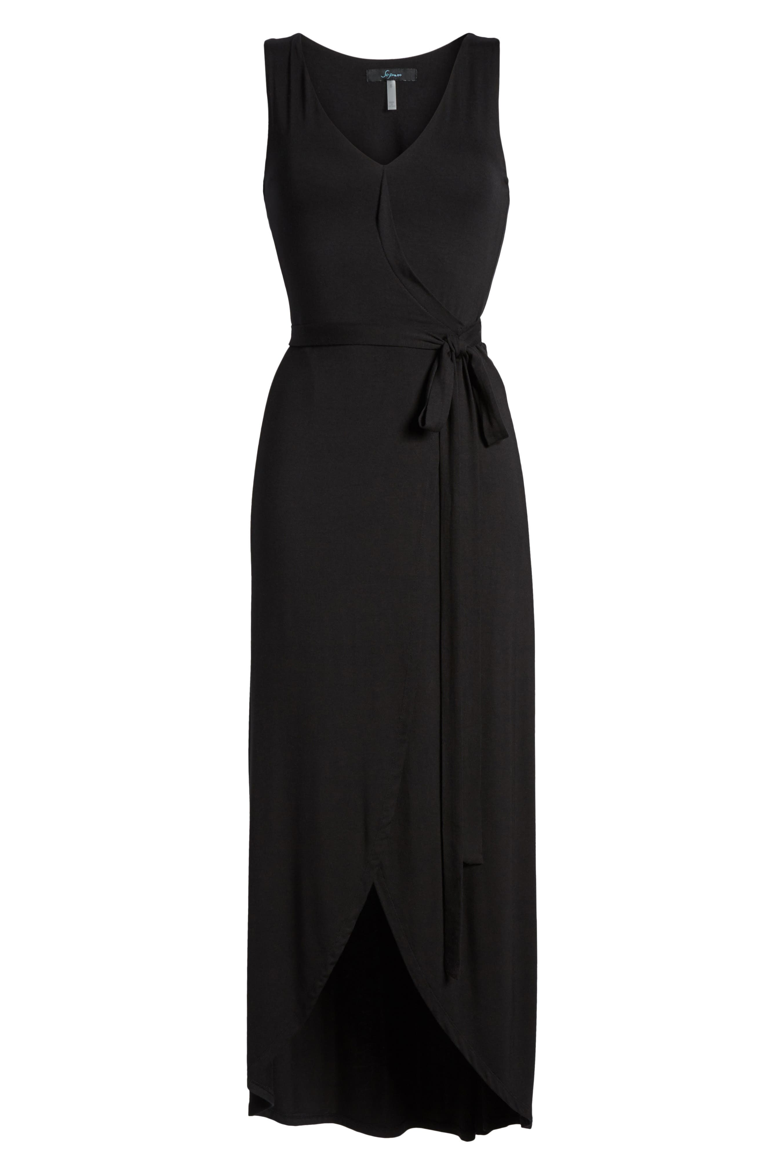 Knit Maxi Dress,                             Alternate thumbnail 6, color,                             001