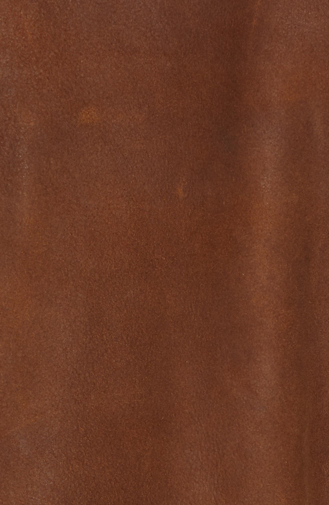 Classic Fit Distressed Leather Hybrid Coat,                             Alternate thumbnail 7, color,                             BROWN