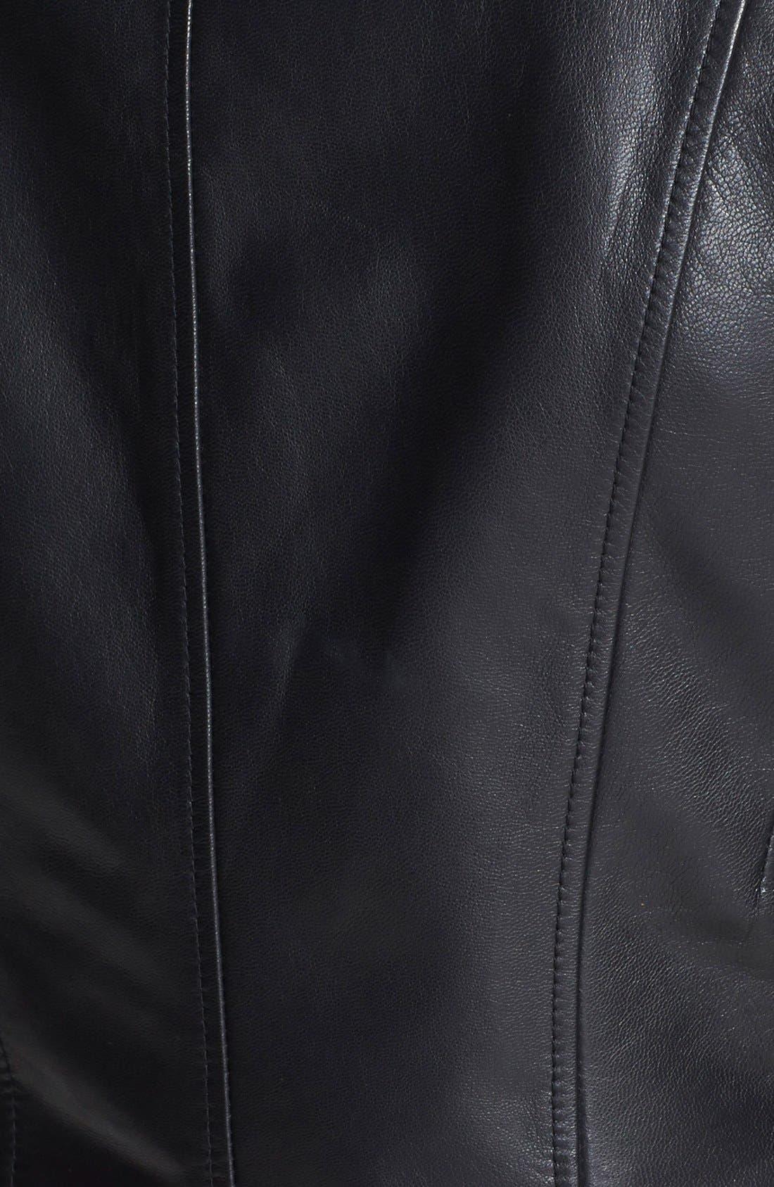 'KitKat' Faux Shearling Trim Leather Jacket,                             Alternate thumbnail 2, color,                             001