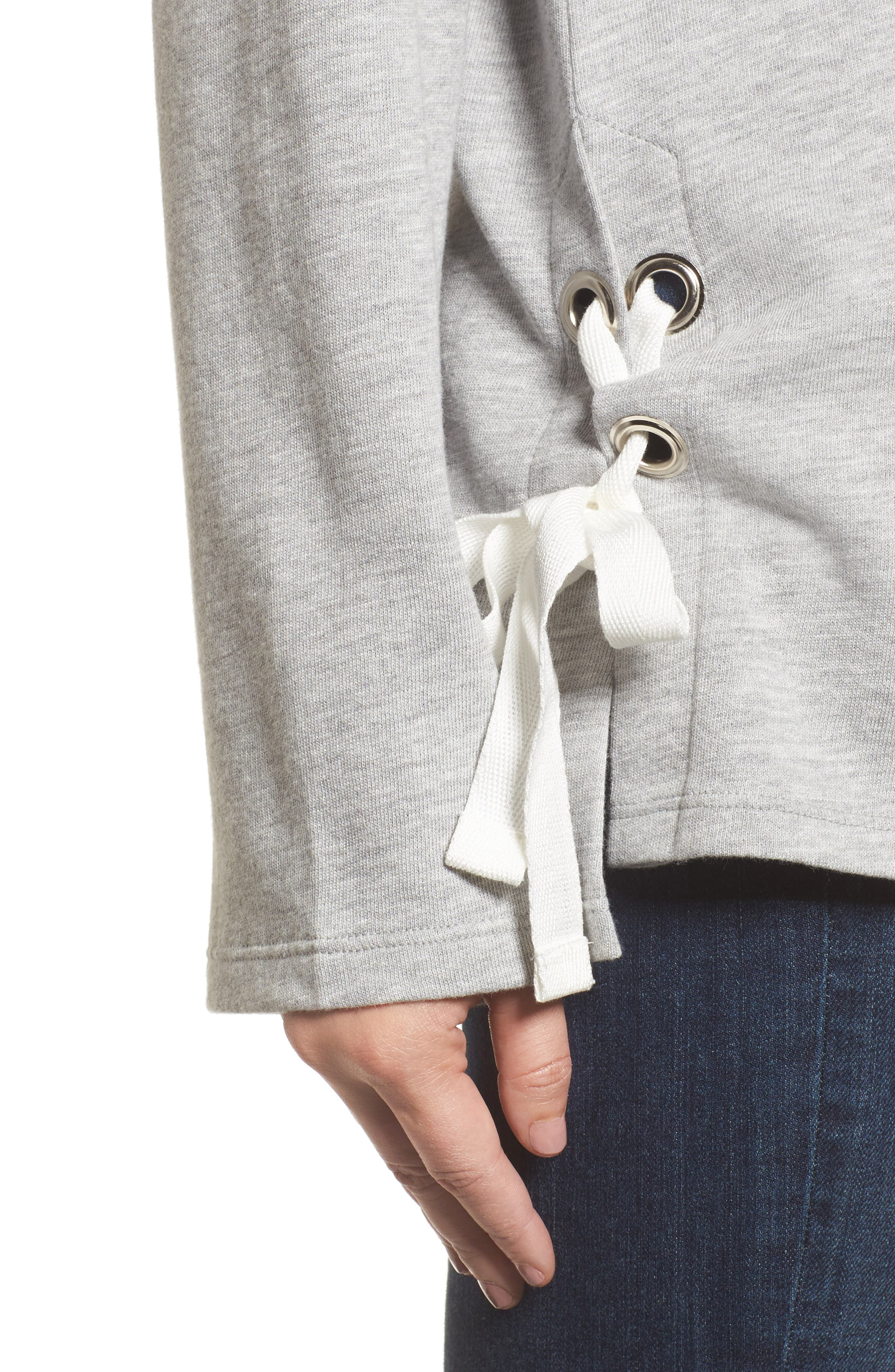 Lace-Up Side Sweatshirt,                             Alternate thumbnail 4, color,                             030