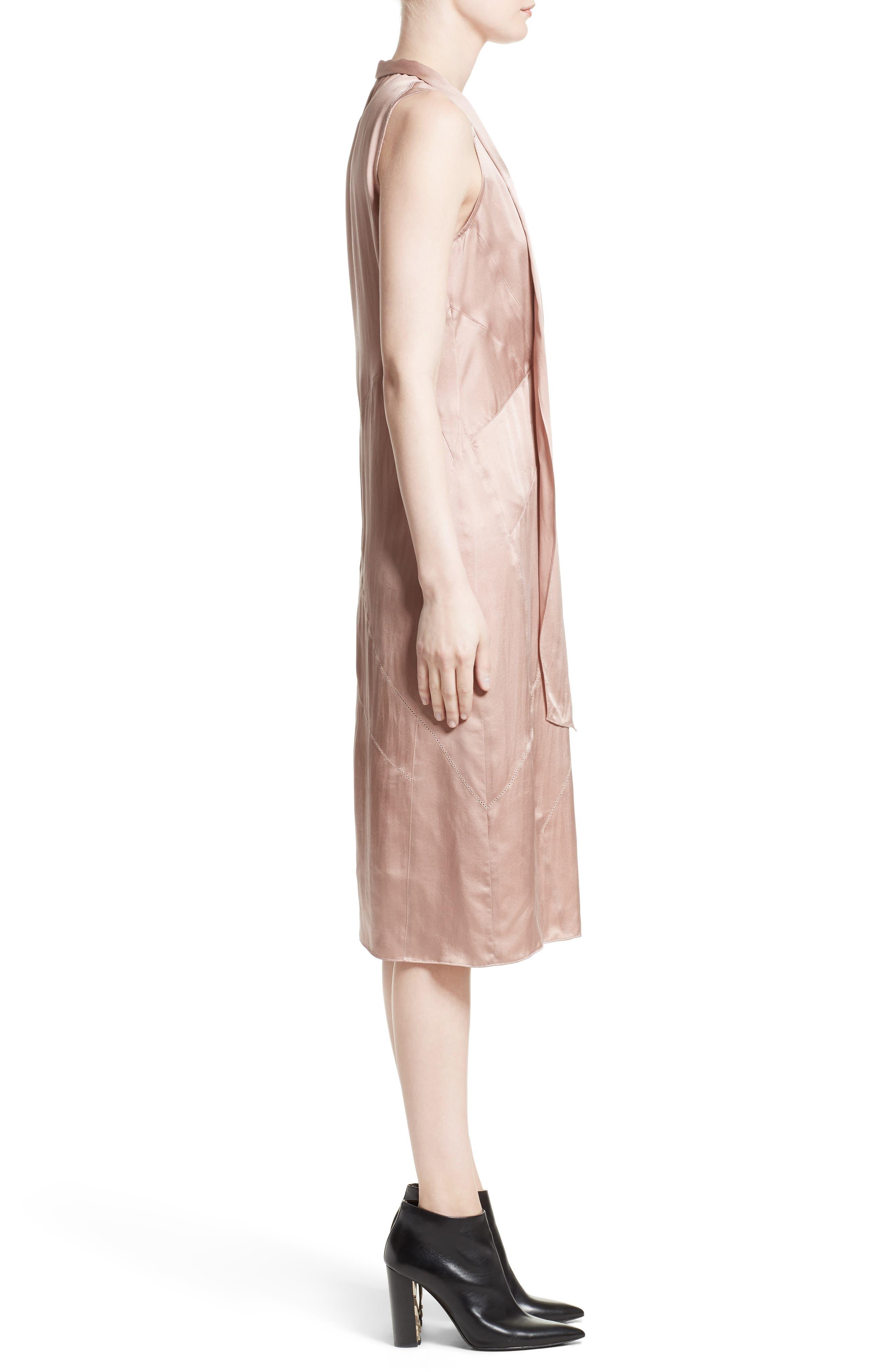 Cathy Tie Neck Silk Dress,                             Alternate thumbnail 3, color,