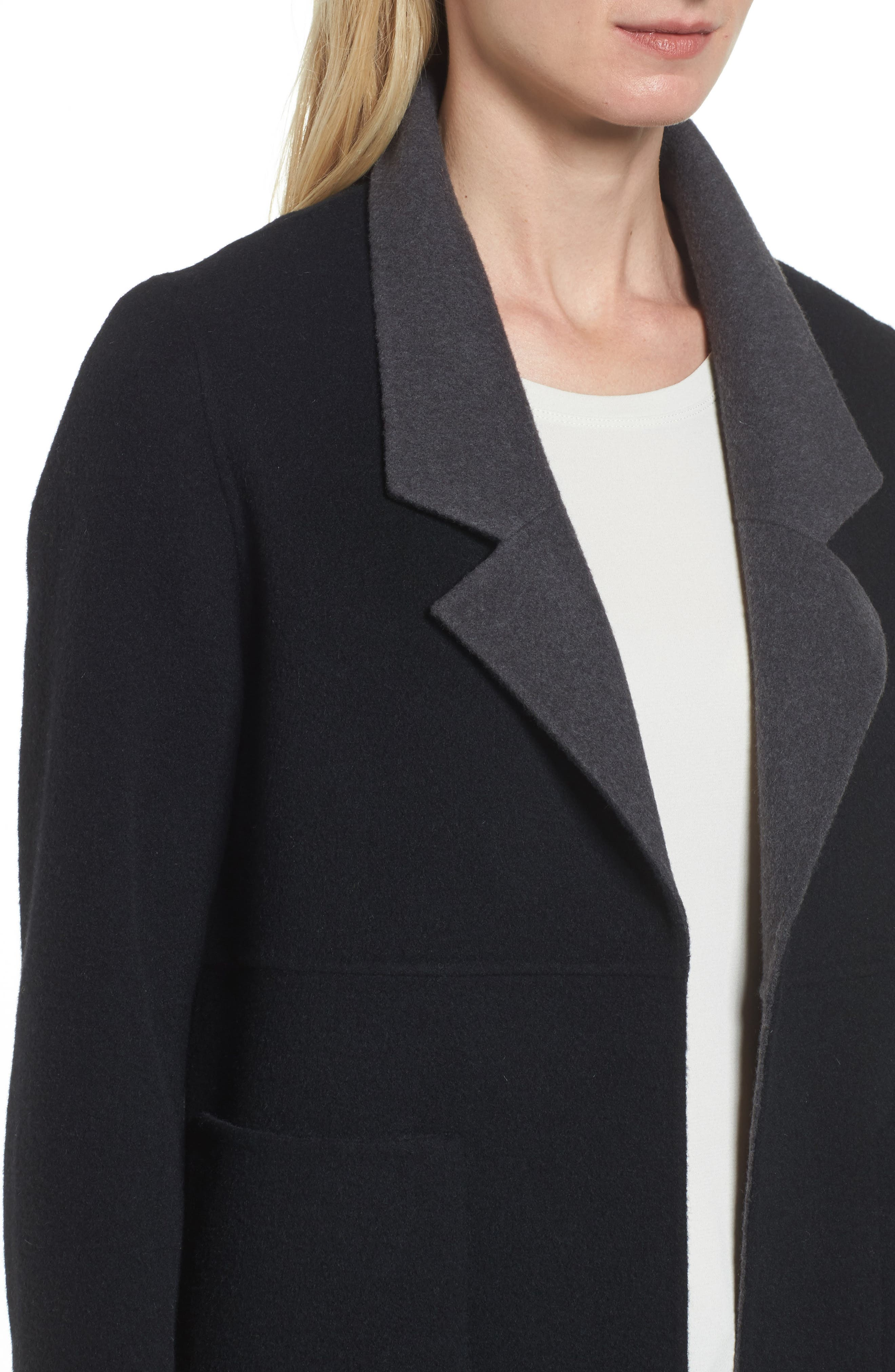 Double Face Brushed Wool Notch Collar Jacket,                             Alternate thumbnail 4, color,                             010