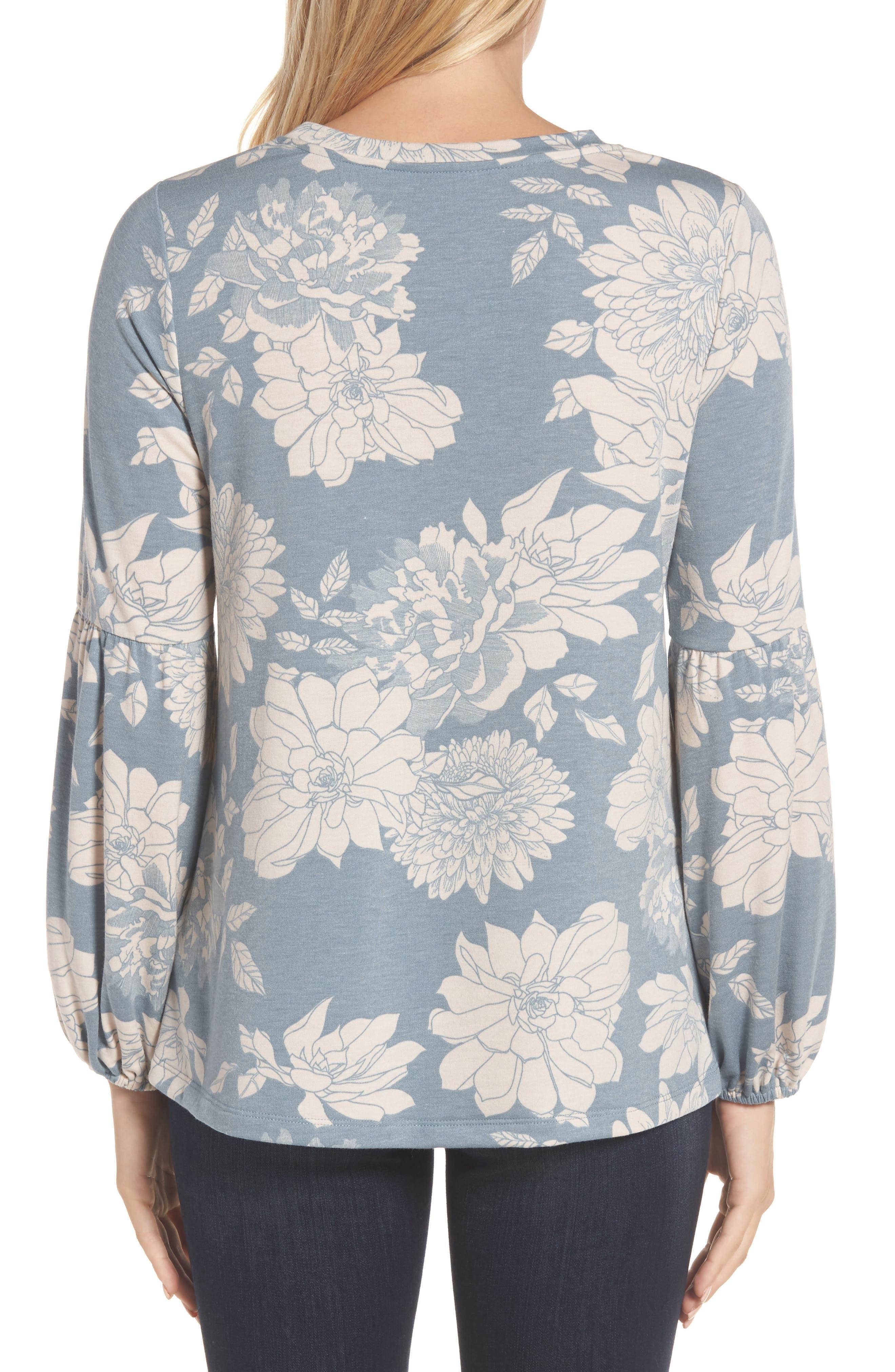 Floral Print Balloon Sleeve Sweatshirt,                             Alternate thumbnail 8, color,