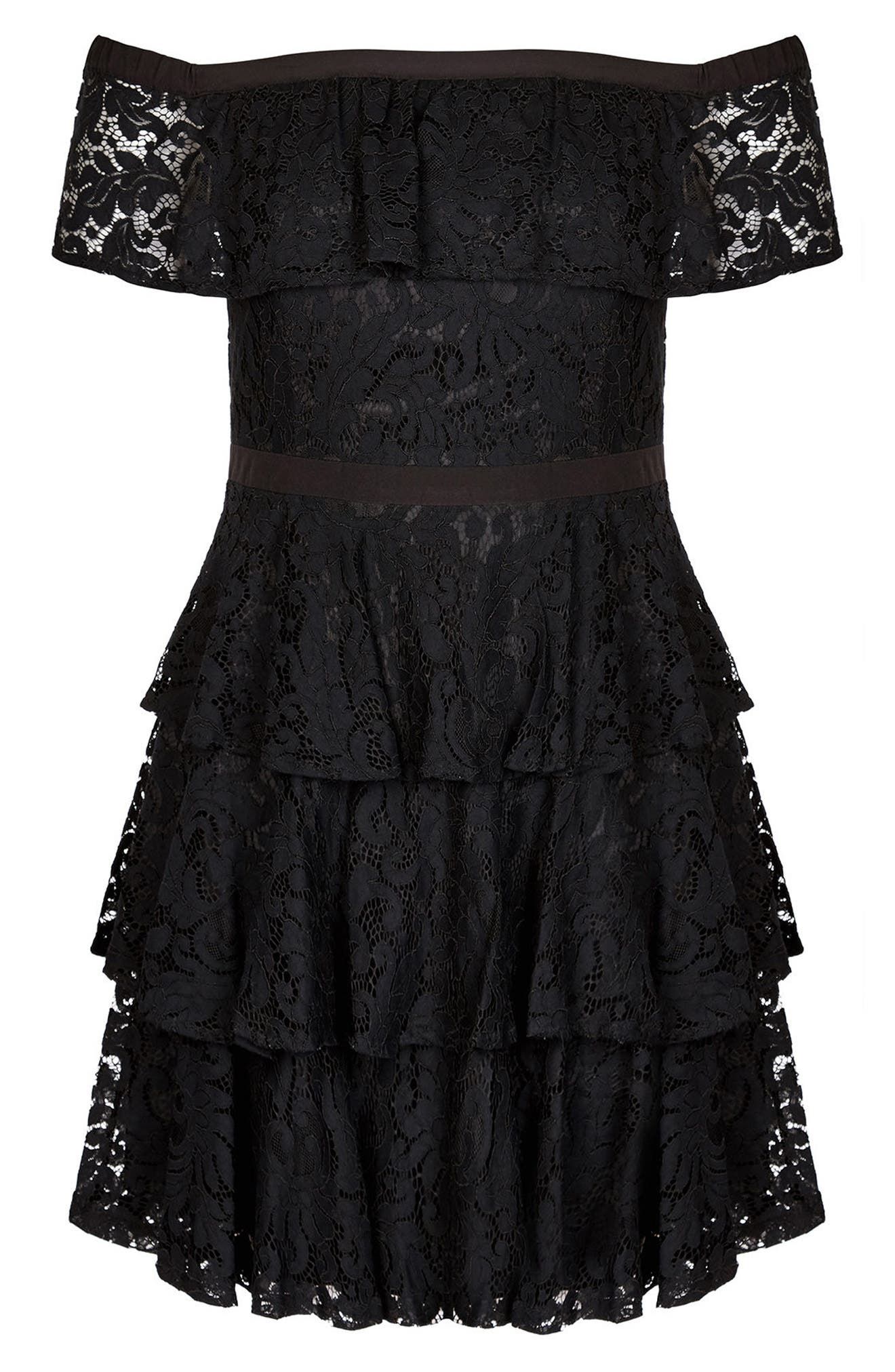 Lady Layers Ruffle Lace Off the Shoulder Dress,                             Alternate thumbnail 3, color,                             BLACK