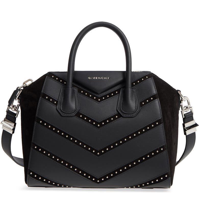 3ad470601b5c Givenchy Small Antigona Studded Chevron Suede   Leather Satchel ...