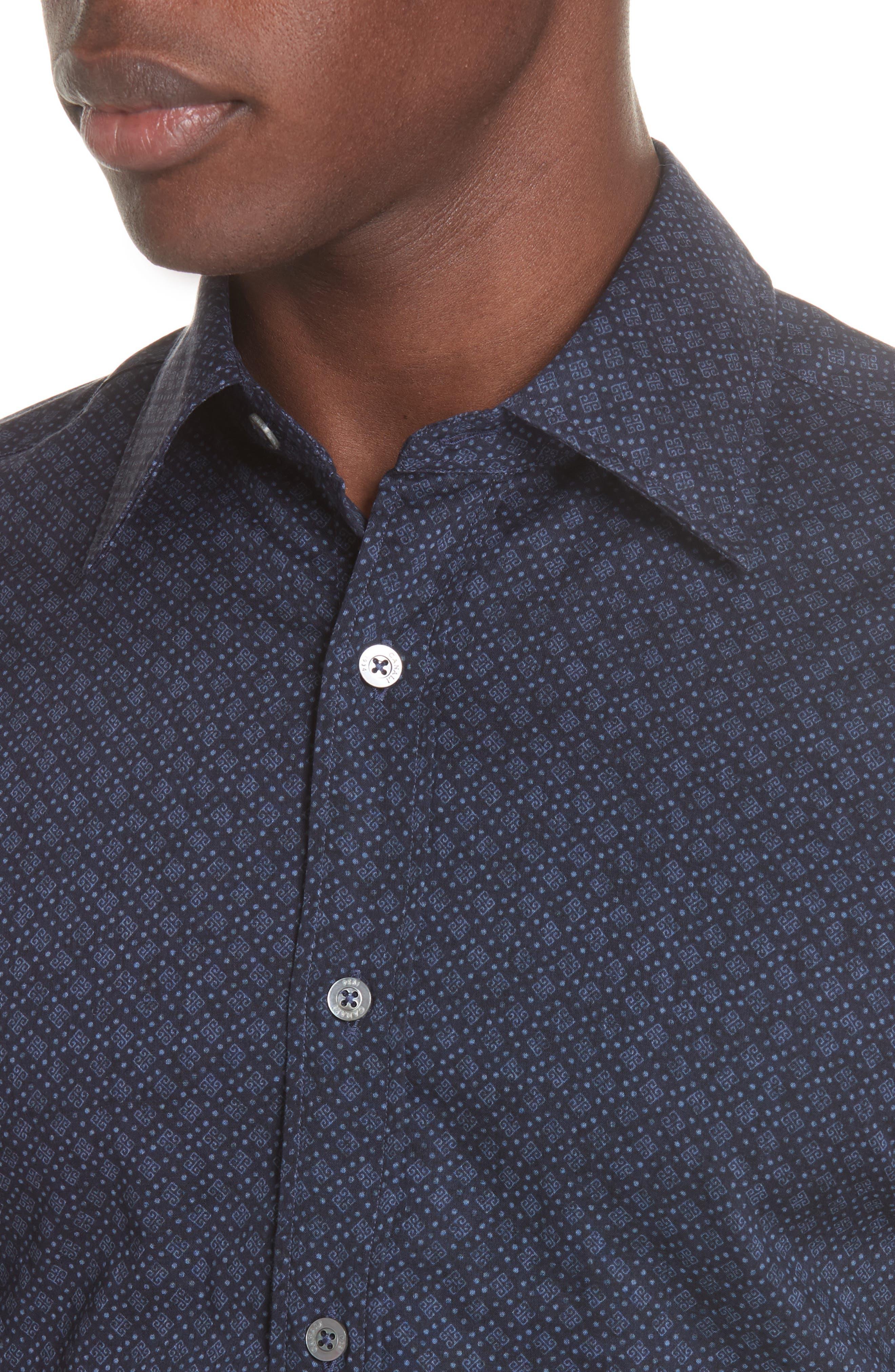 Regular Fit Easy Care Geometric Sport Shirt,                             Alternate thumbnail 2, color,                             NAVY