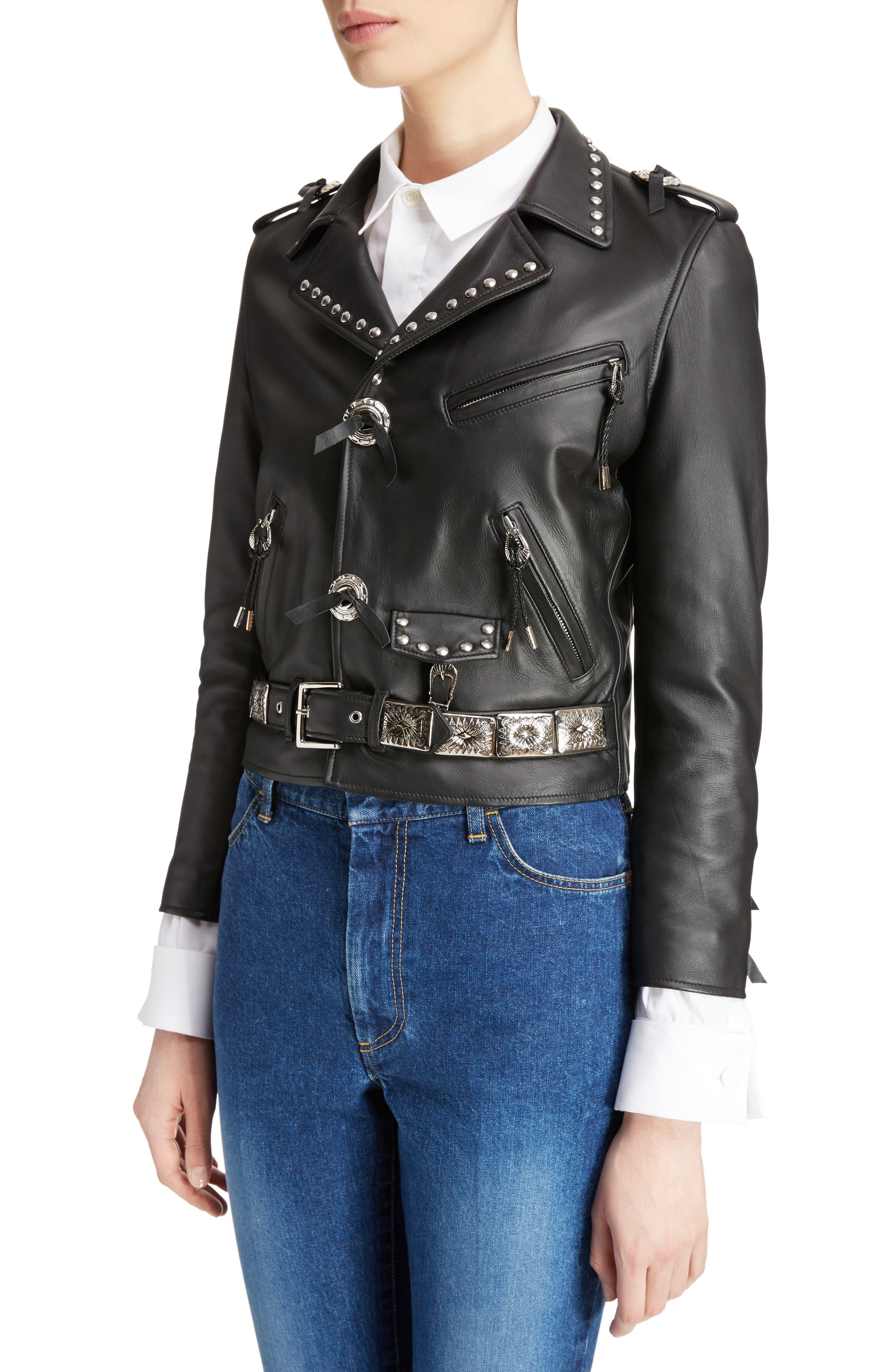 Studded Leather Moto Jacket,                             Alternate thumbnail 4, color,                             001