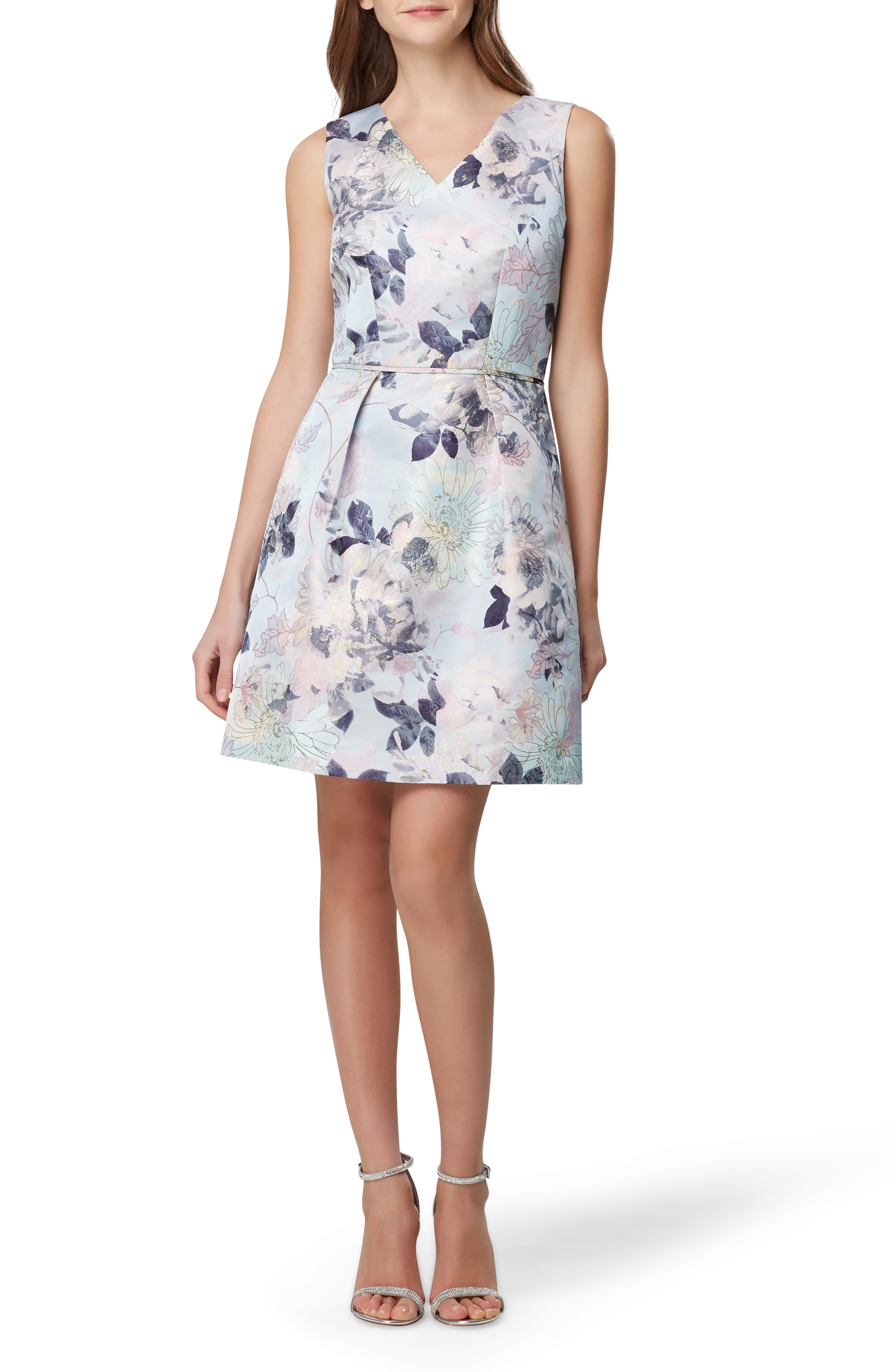 Tahari Sleeveless Floral Jacquard Fit & Flare Dress, Purple