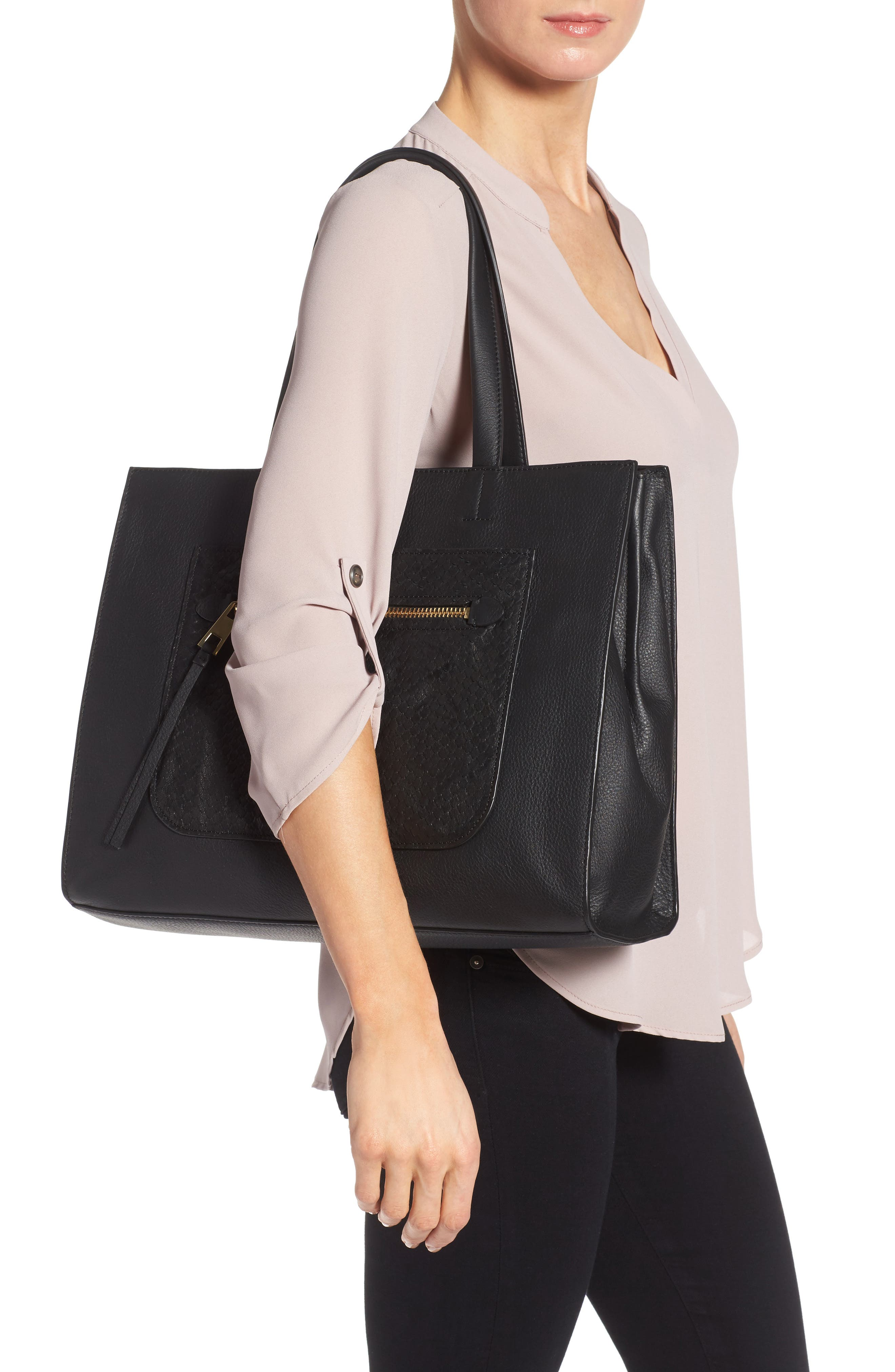 VINCE CAMUTO,                             Elvan Leather Tote,                             Alternate thumbnail 2, color,                             001