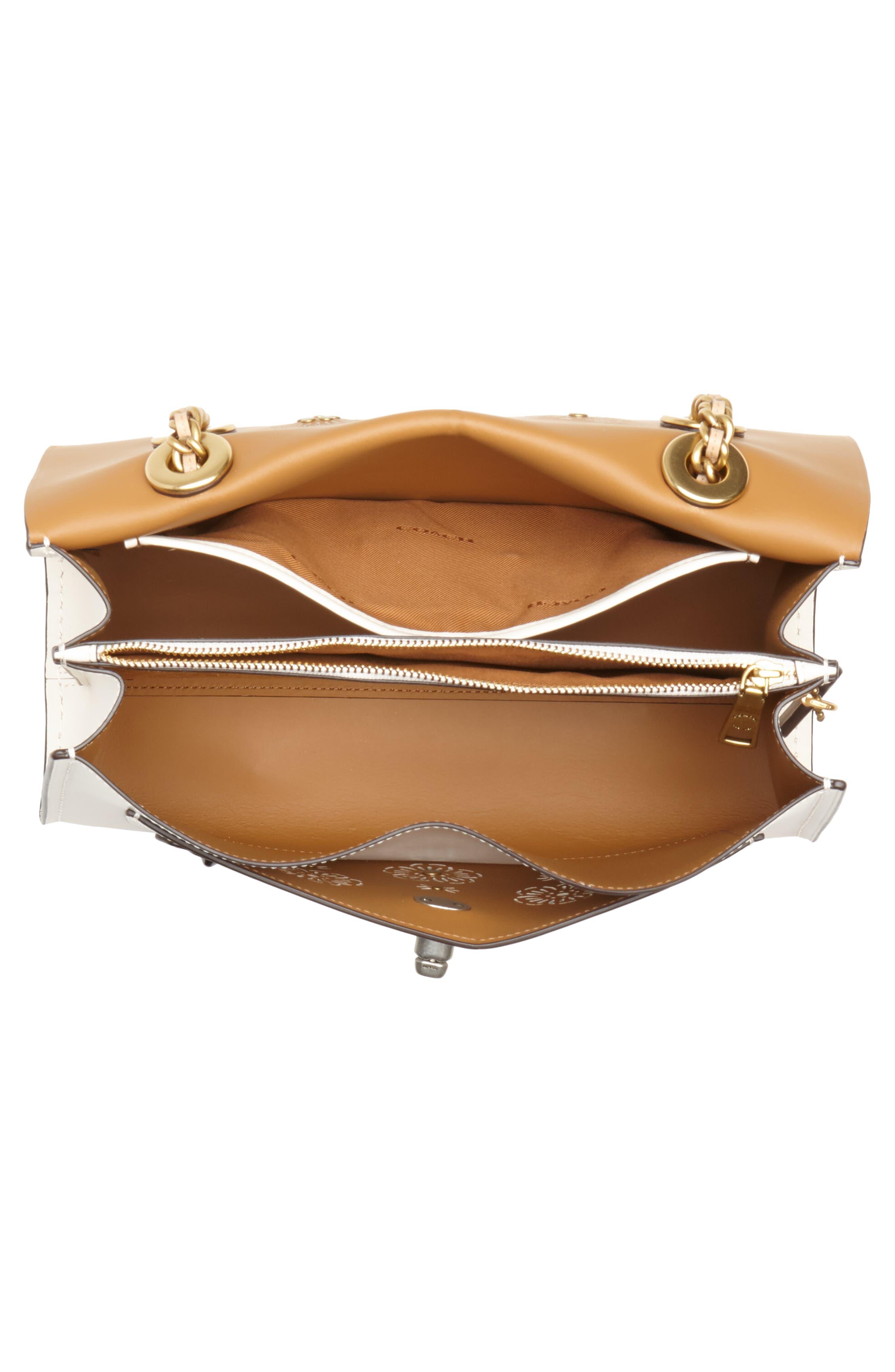 Parker Floral Embellished Leather Shoulder Bag,                             Alternate thumbnail 4, color,