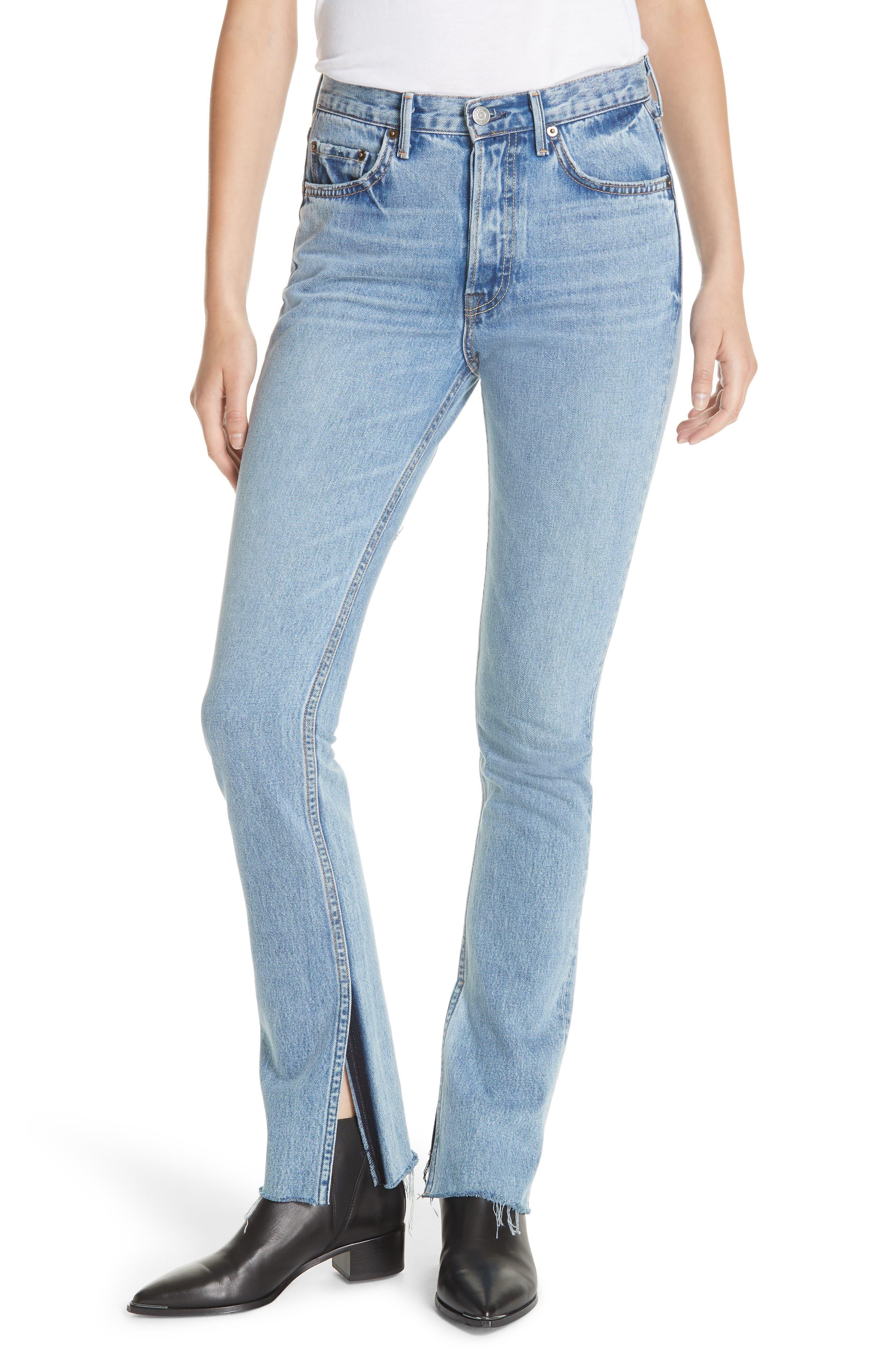 Addison Split Hem Boot Leg Jeans,                             Main thumbnail 1, color,                             TOUCH THE FLOOR