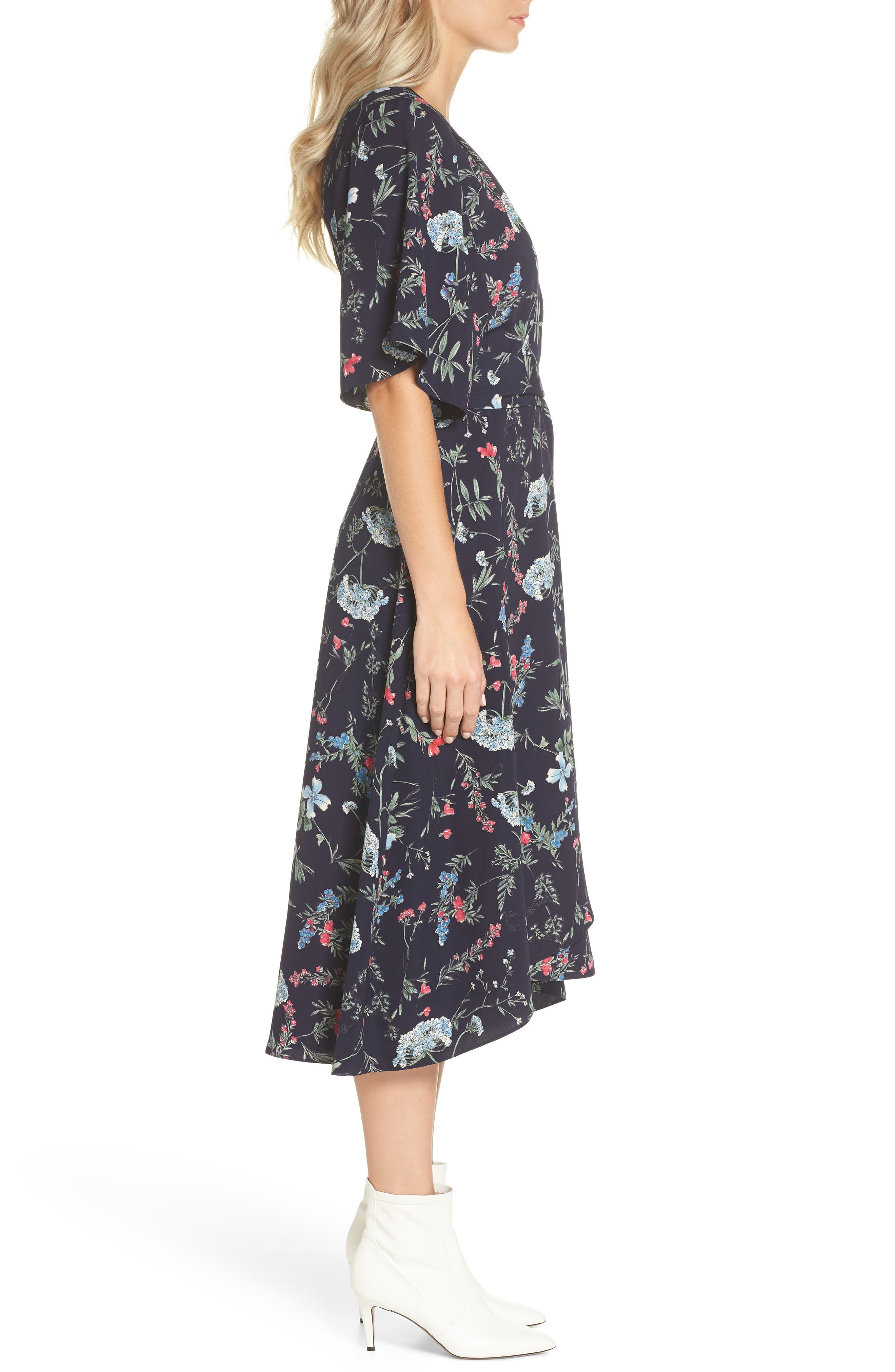 Floral Print Faux Wrap Midi Dress,                             Alternate thumbnail 3, color,                             600