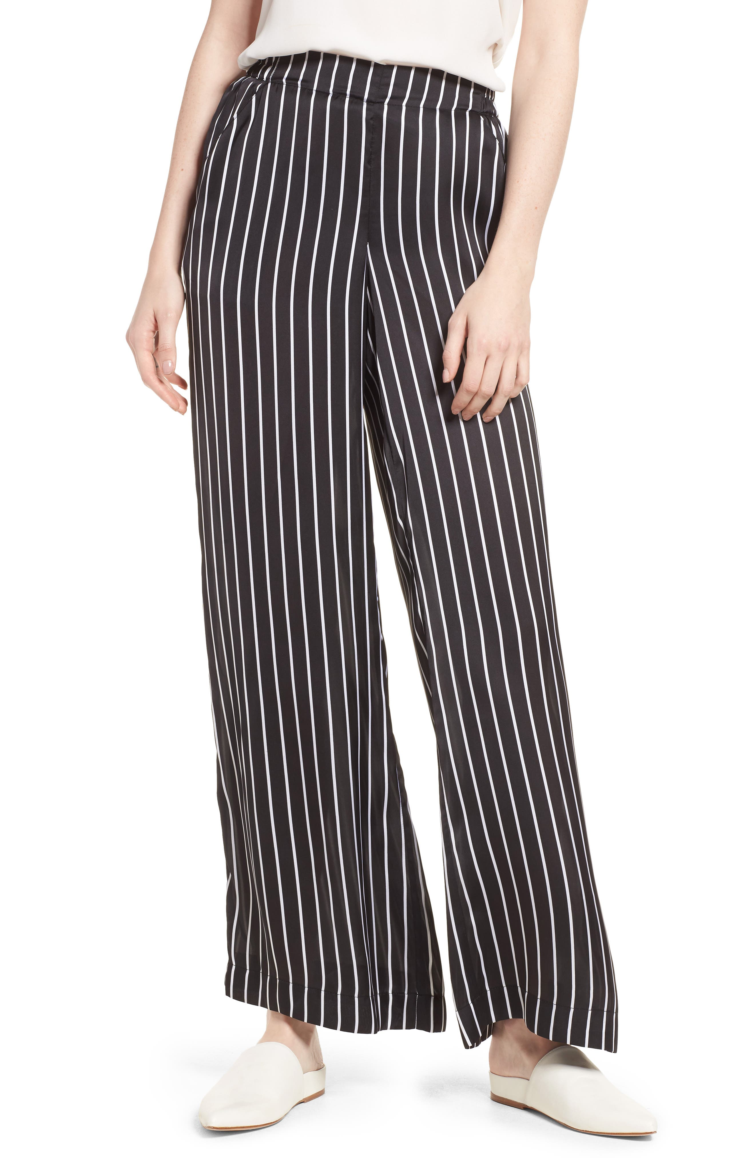 Kenneth Cole Wide Leg Pants,                             Main thumbnail 1, color,                             STREET STRIPE BLACK