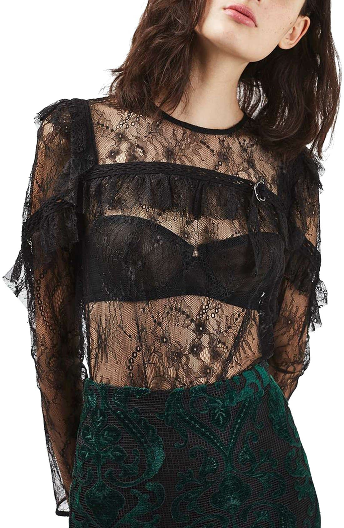 Long Sleeve Lace Top,                             Main thumbnail 1, color,                             001