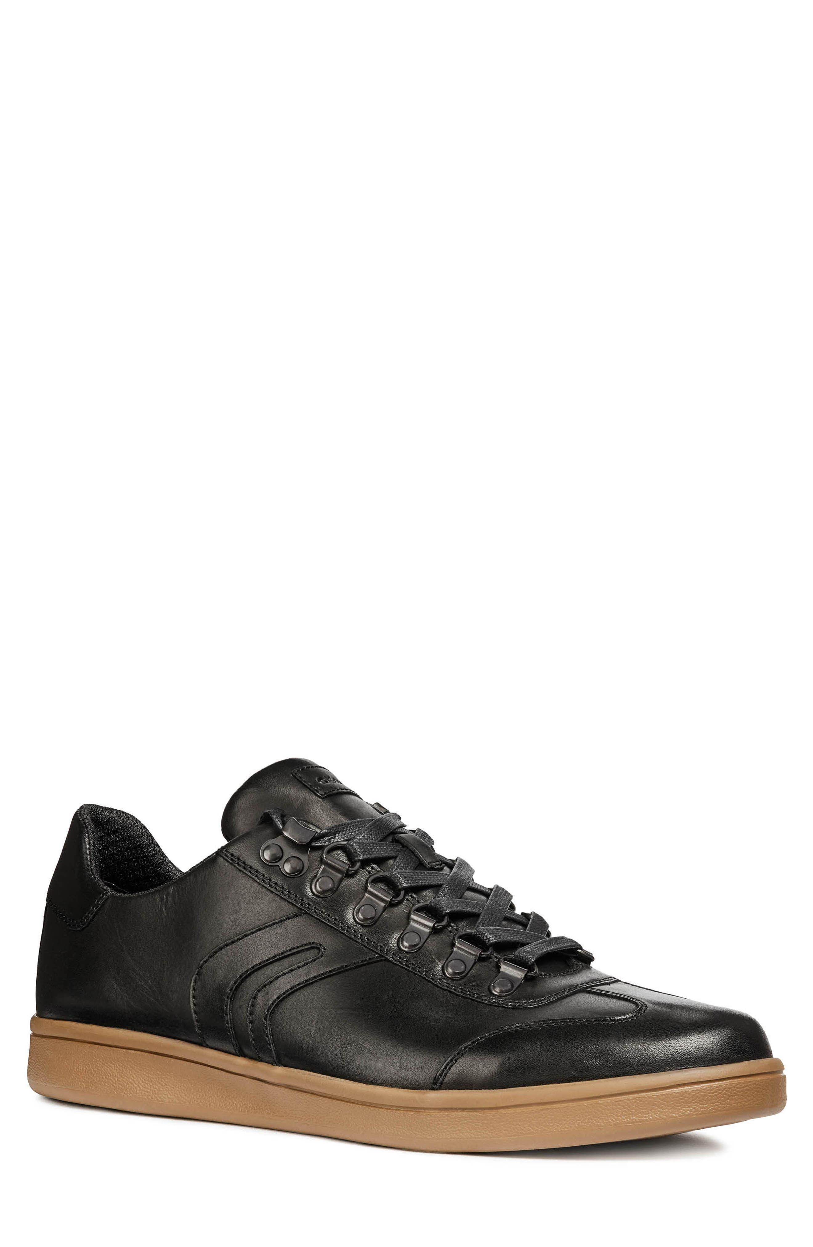 Warrens 12 Low Top Sneaker,                         Main,                         color, BLACK LEATHER