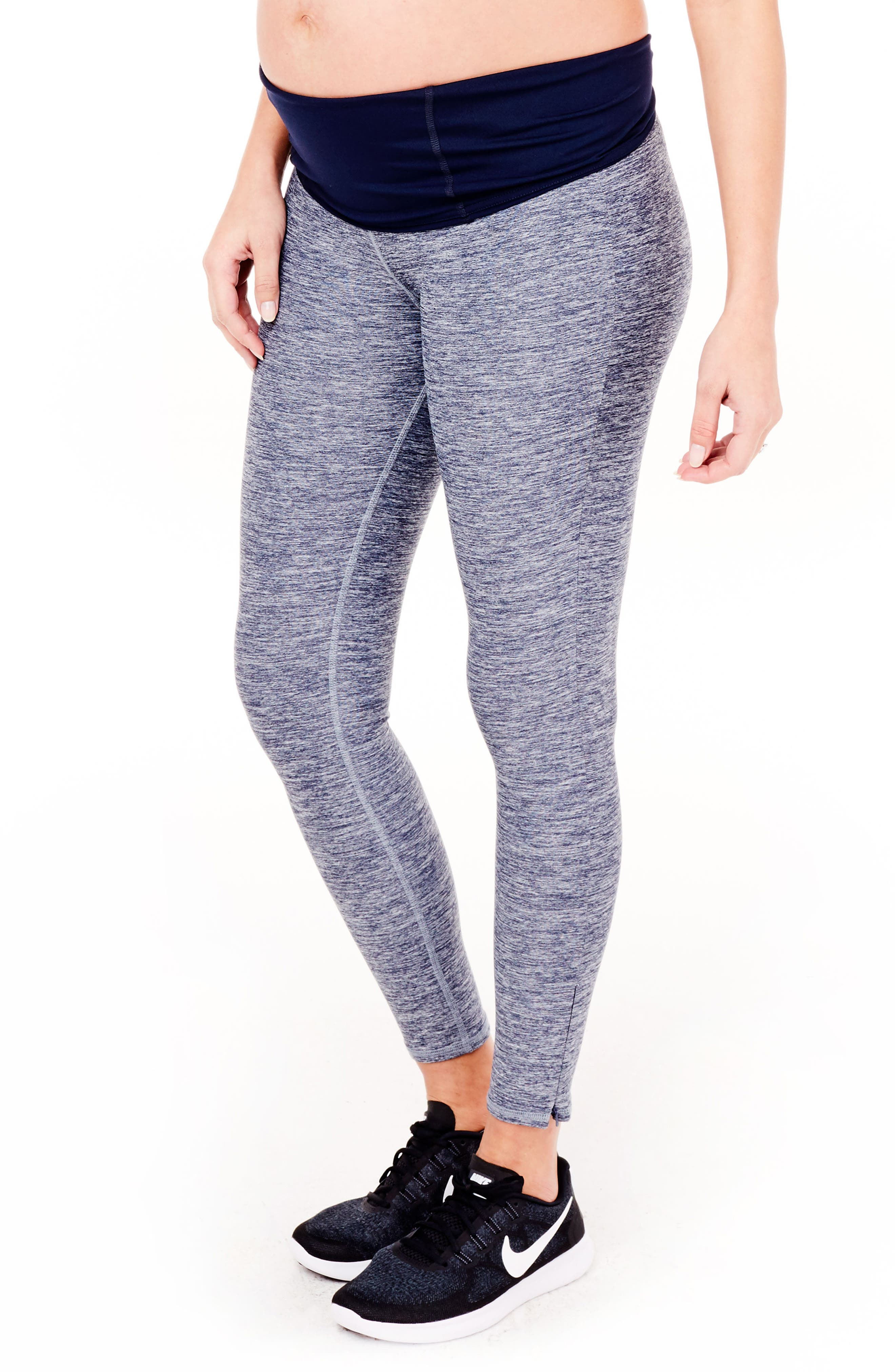 'Active' Maternity Leggings with Crossover Panel,                             Alternate thumbnail 3, color,                             417