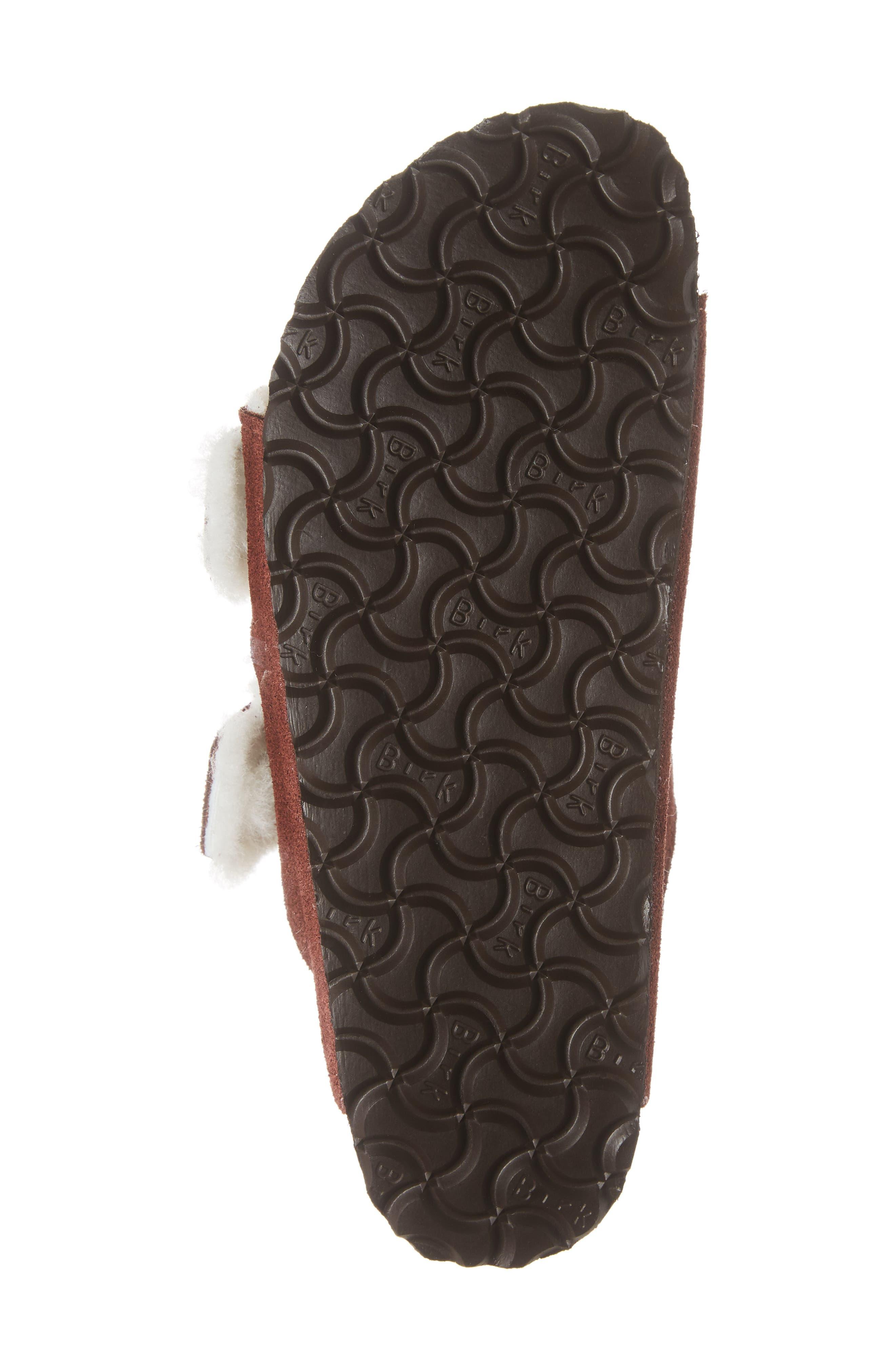 'Arizona' Genuine Shearling Lined Sandal,                             Alternate thumbnail 6, color,                             PORT SUEDE