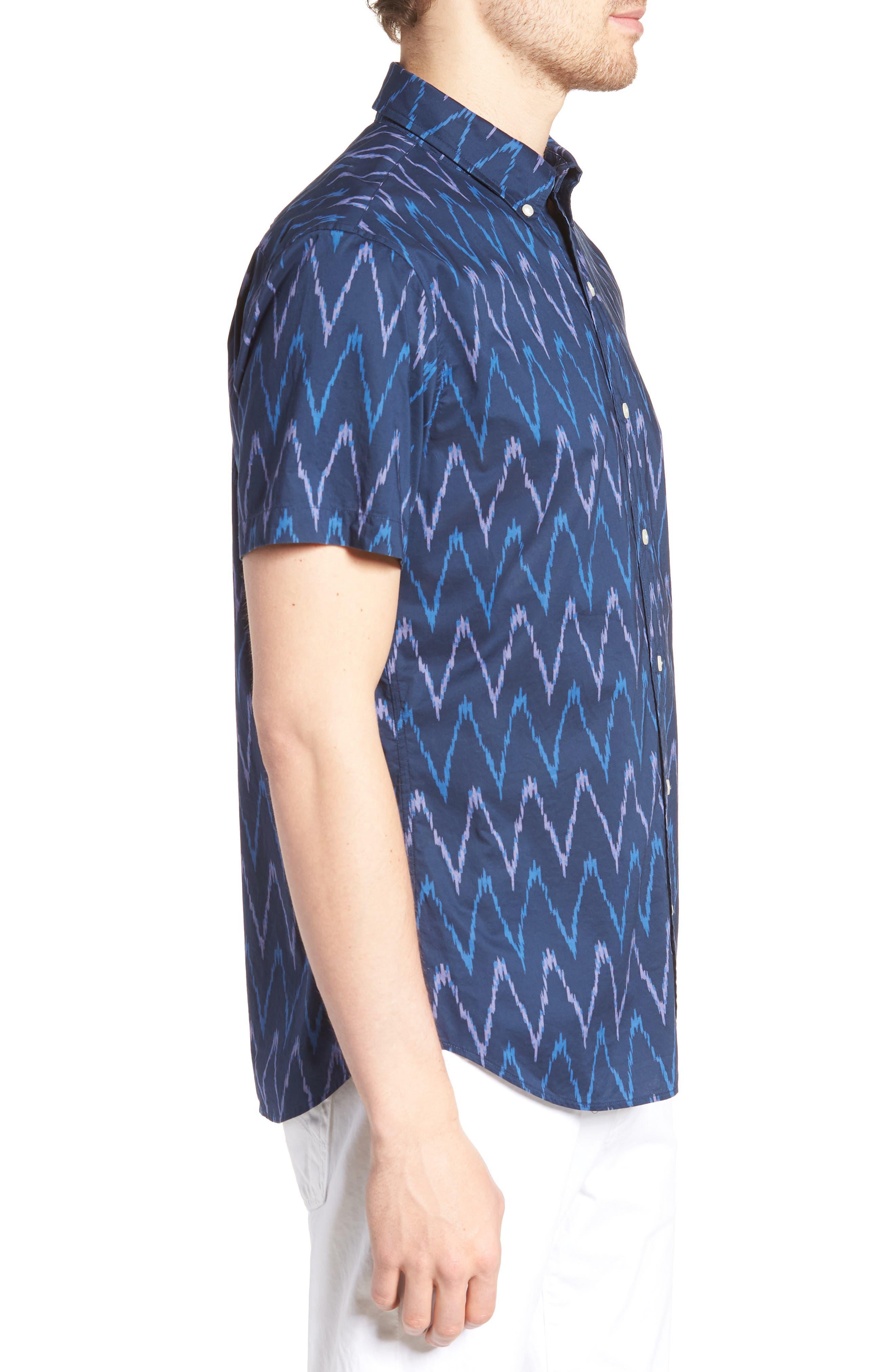 Riviera Slim Fit Ikat Print Sport Shirt,                             Alternate thumbnail 3, color,                             PRINTED IKAT - DEEP PACIFIC