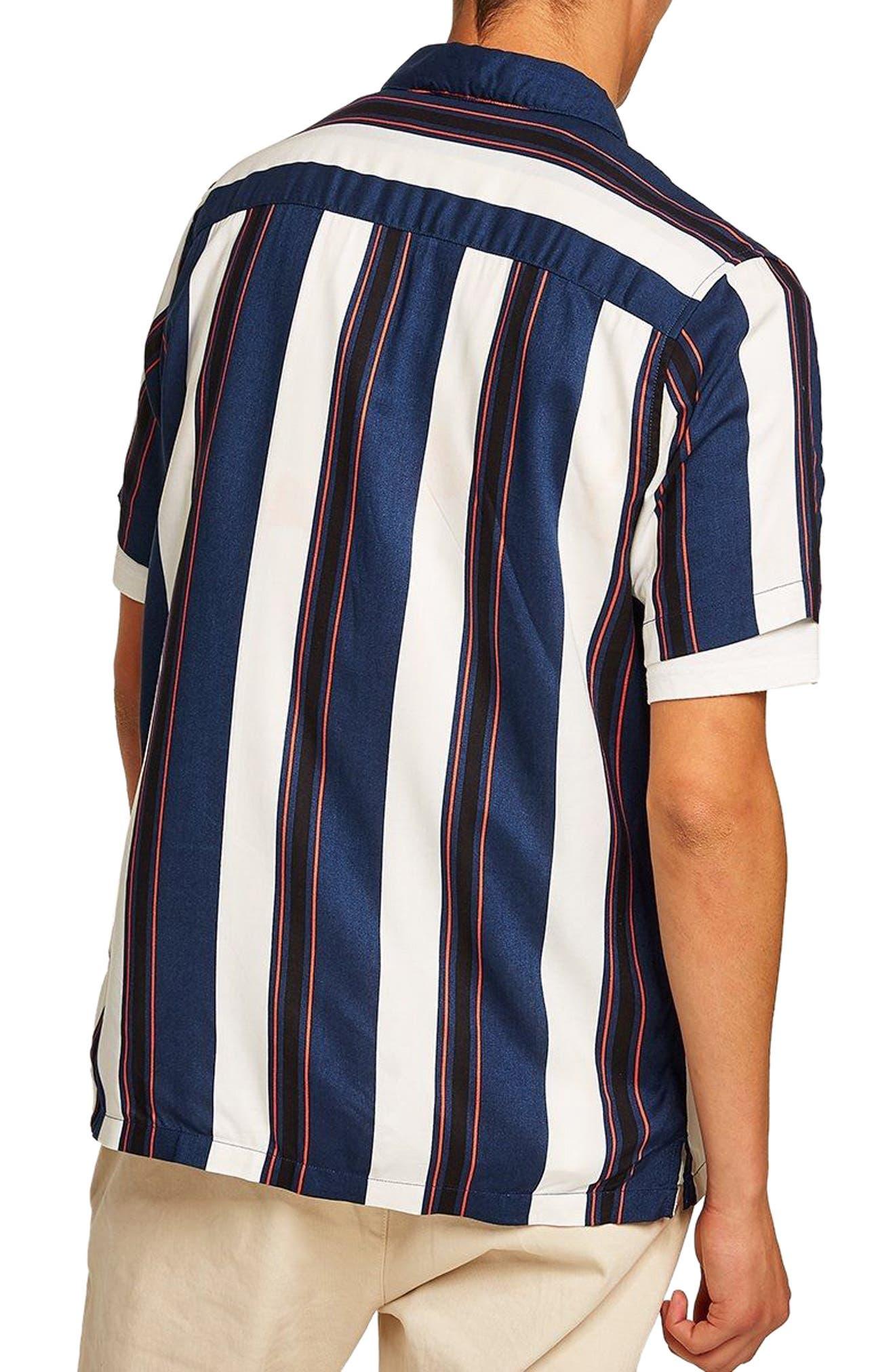 TOPMAN,                             Stripe Camp Shirt,                             Alternate thumbnail 3, color,                             410