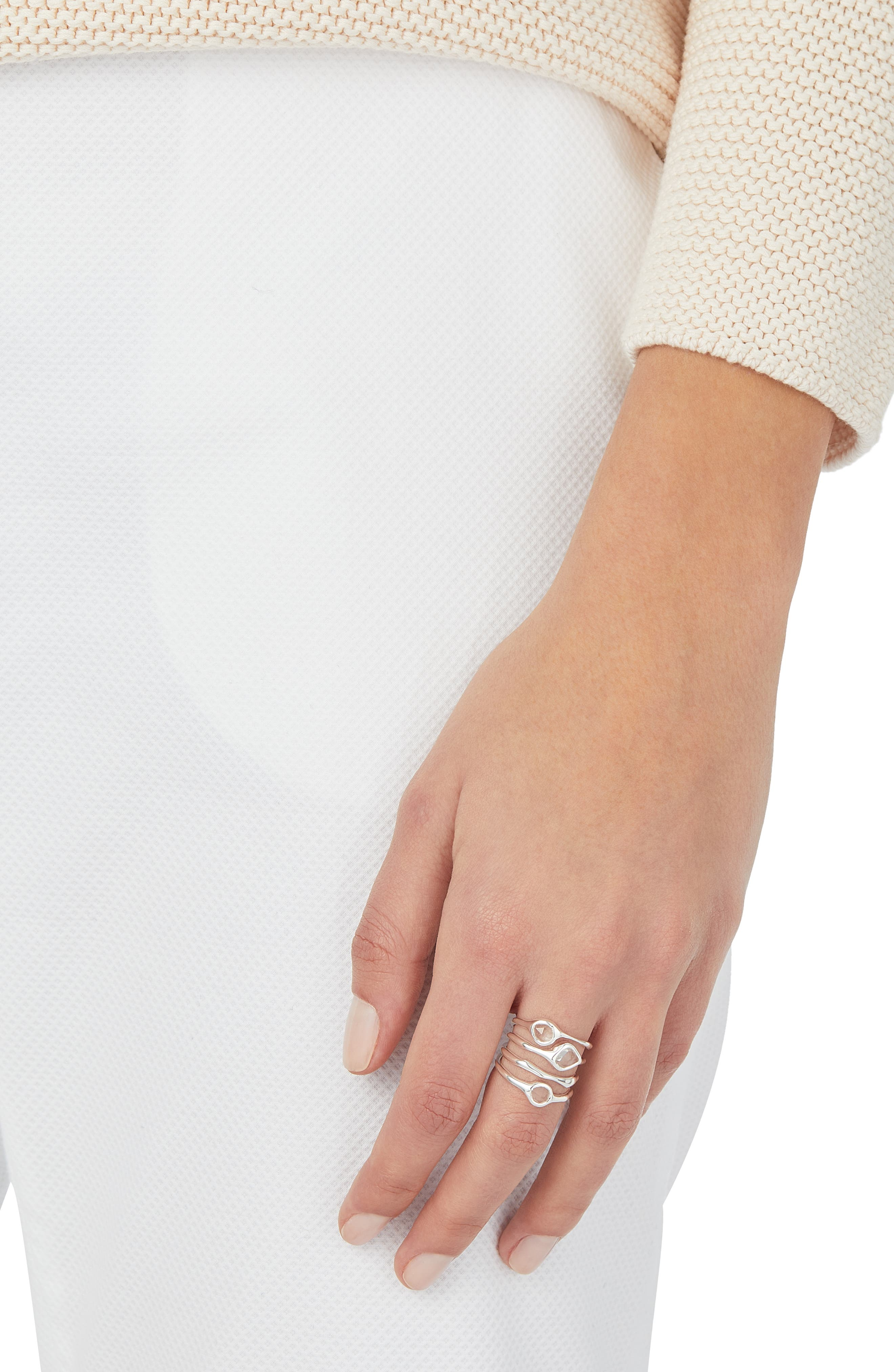 Siren Cluster Cocktail Ring,                             Alternate thumbnail 2, color,                             SILVER/ ROCK CRYSTAL