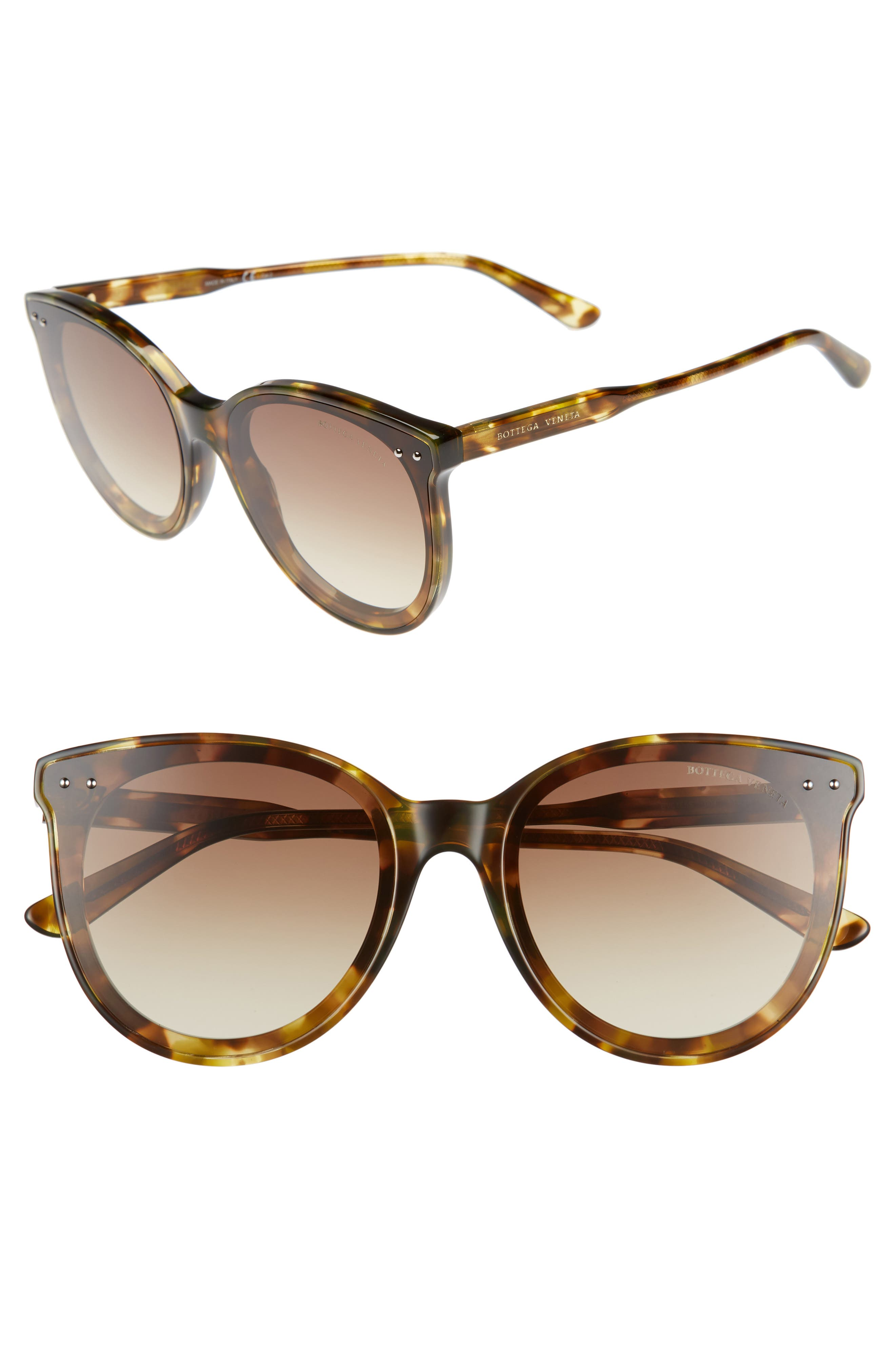 61mm Cat Eye Sunglasses,                         Main,                         color, GREEN HAVANA