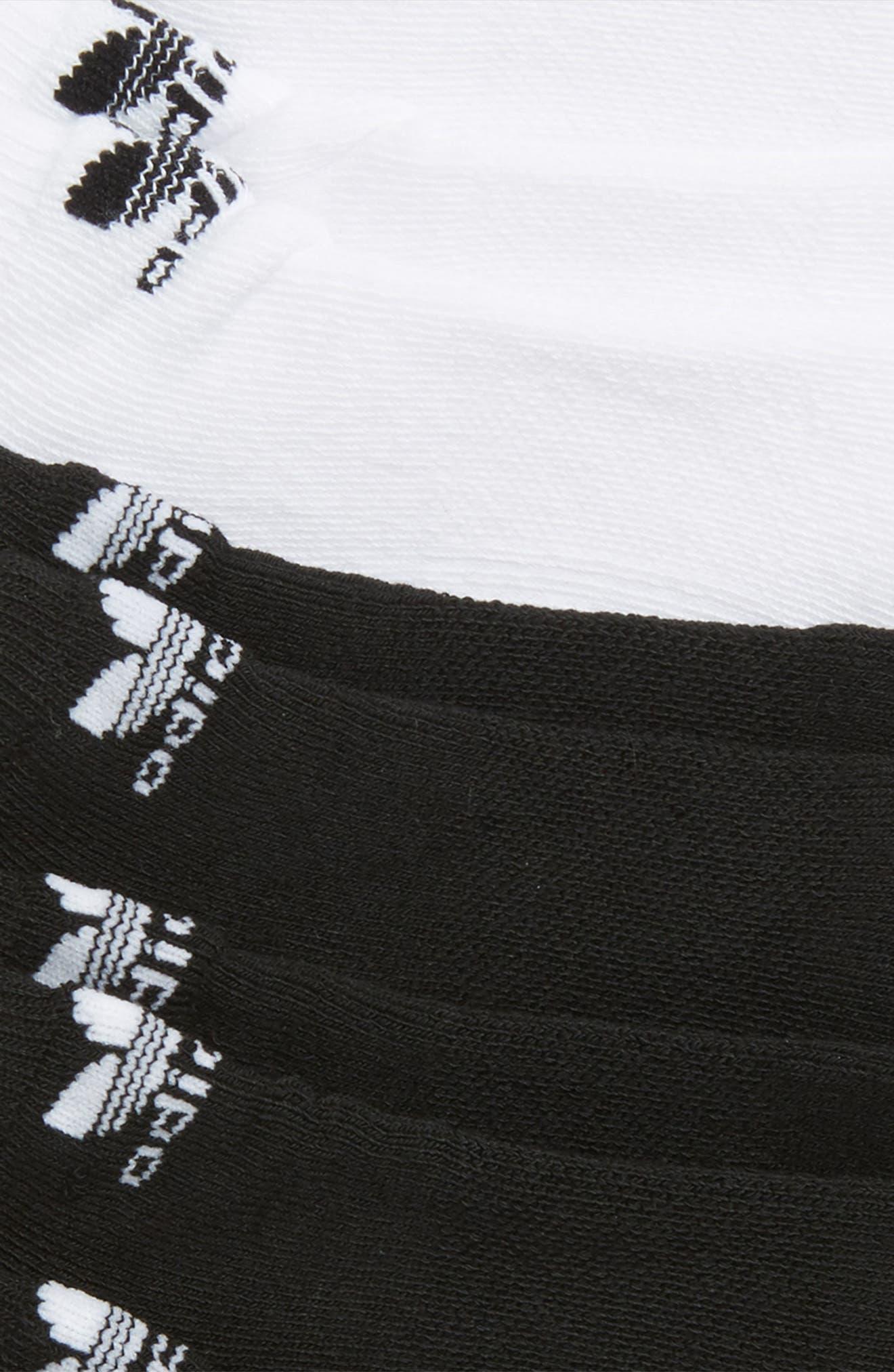 Trefoil 6-Pack No-Show Socks,                             Alternate thumbnail 2, color,                             BLACK/ WHITE