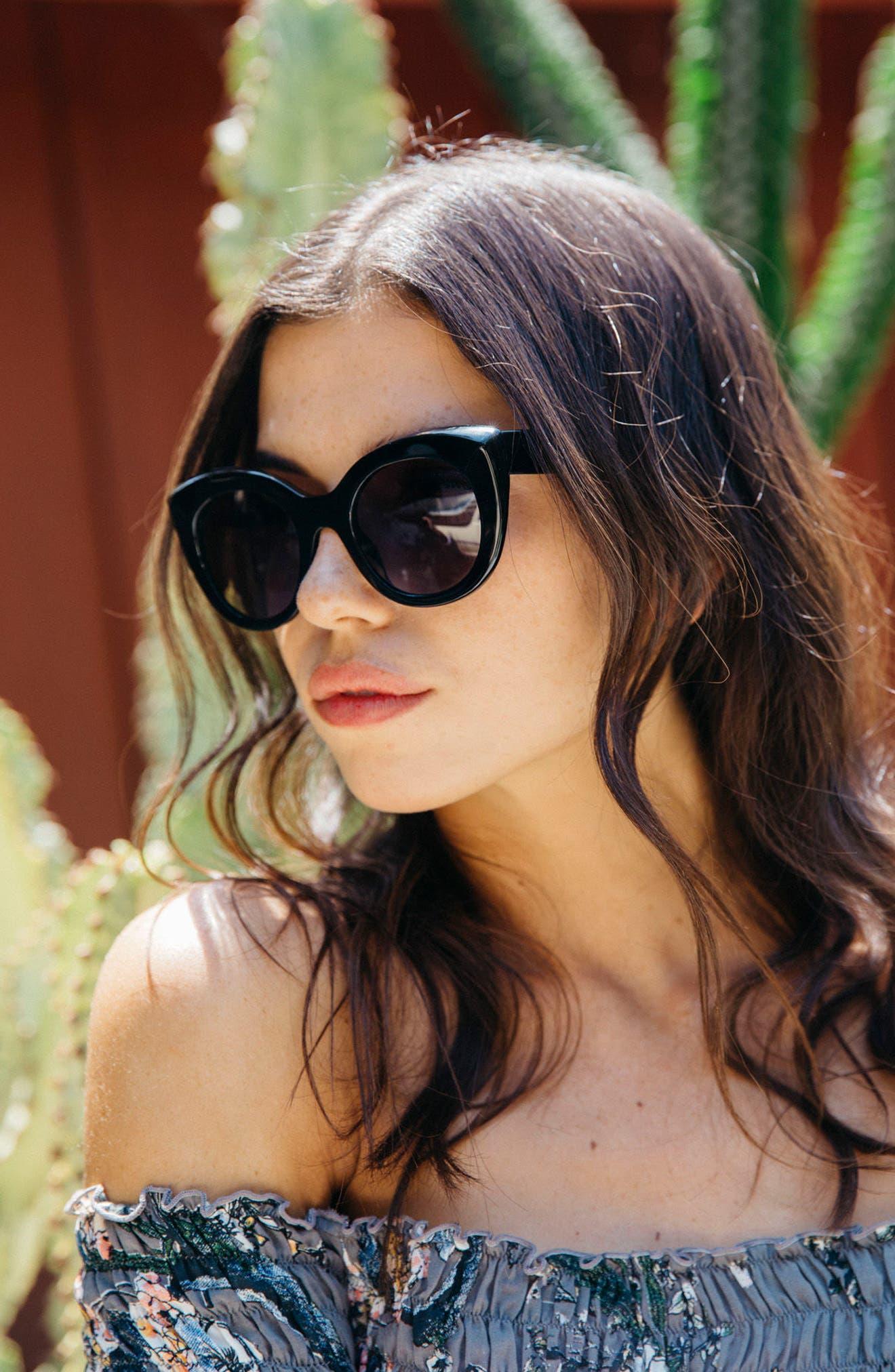 D'BLANC Modern Lover 49mm Cat-Eye Sunglasses,                             Alternate thumbnail 4, color,                             001
