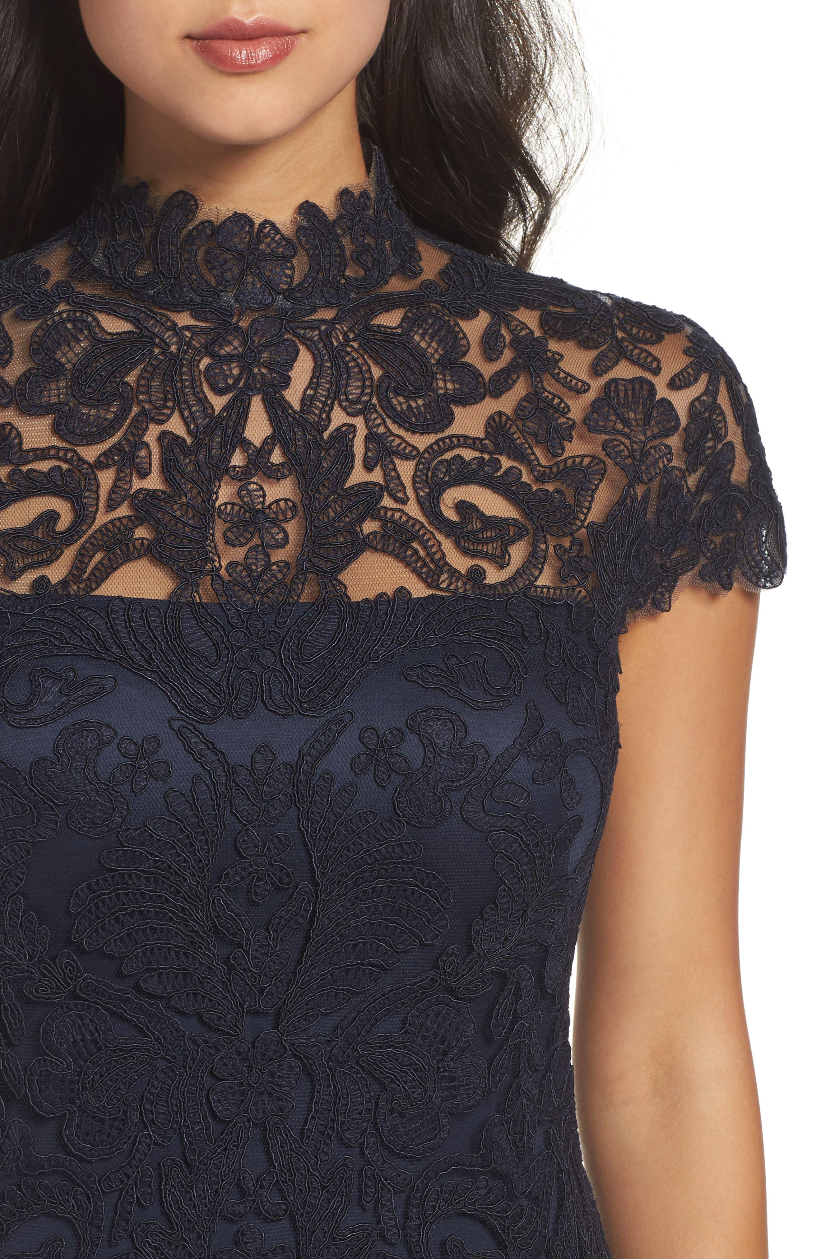 Mock Neck Corded Tulle Sheath Dress,                             Alternate thumbnail 8, color,