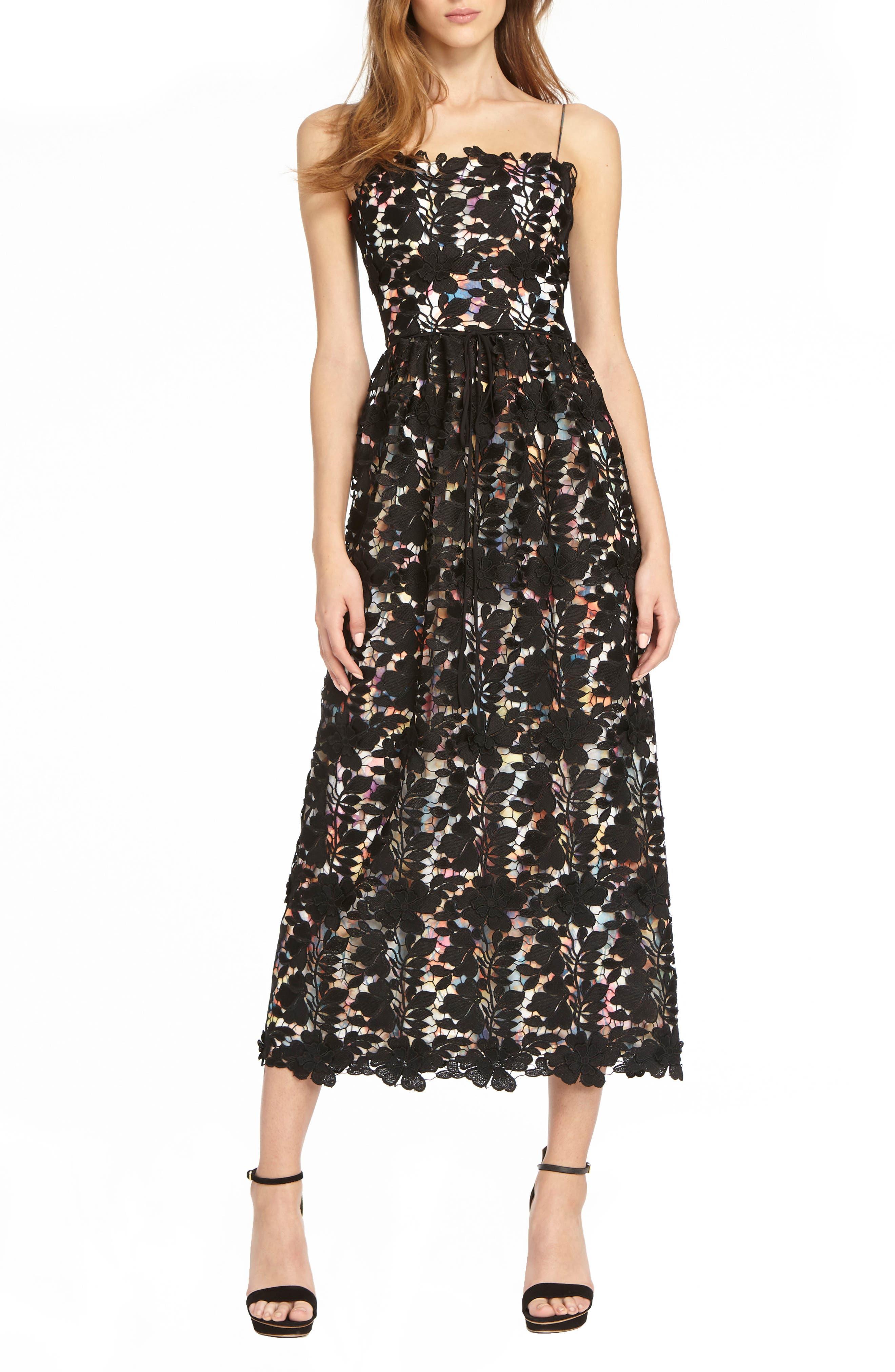 Lace Tea Length Dress,                         Main,                         color, WATERCOLOR BLACK