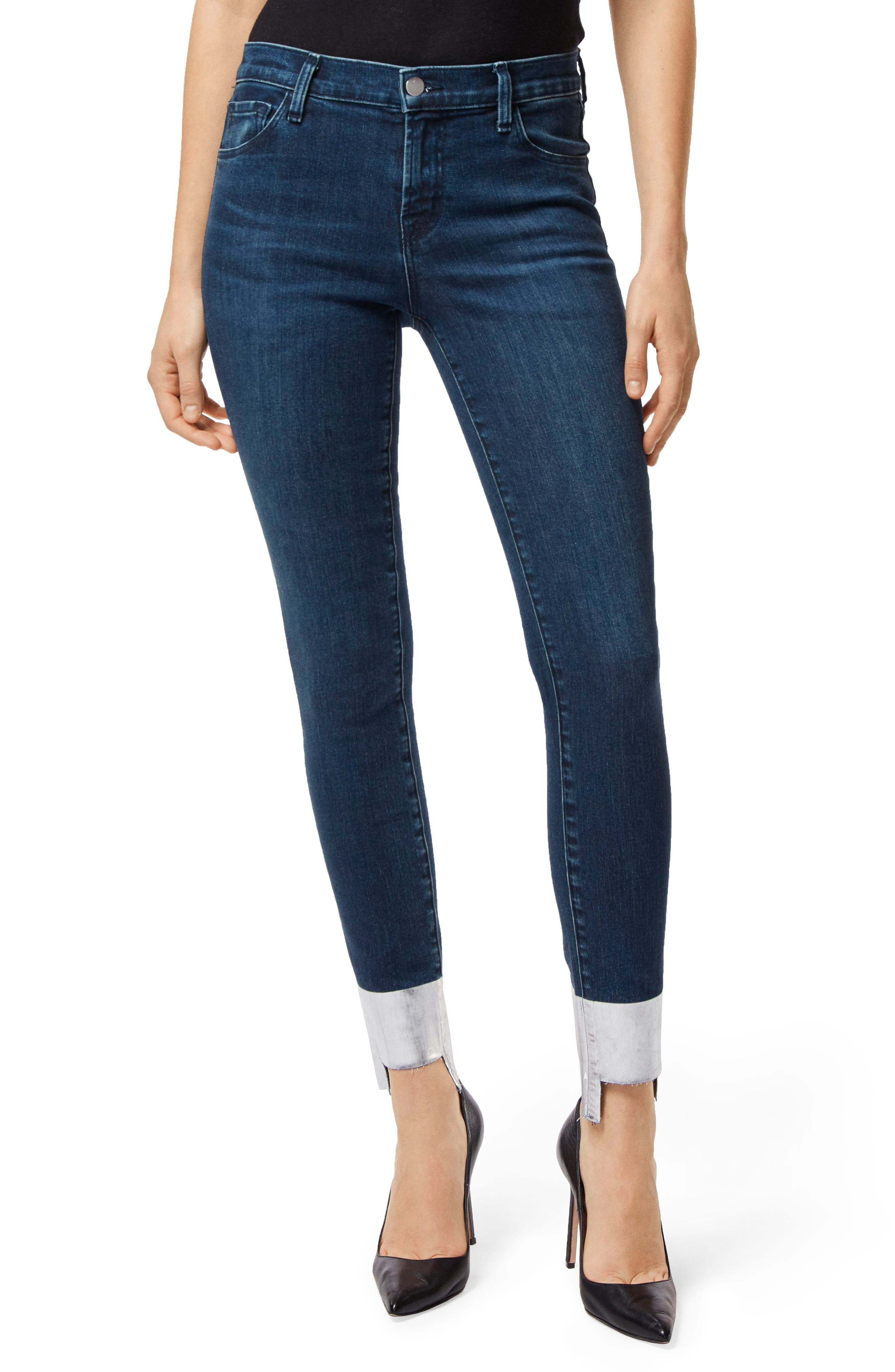 '811' Cutoff Step Hem Skinny Jeans,                             Main thumbnail 1, color,                             SILVER POOL